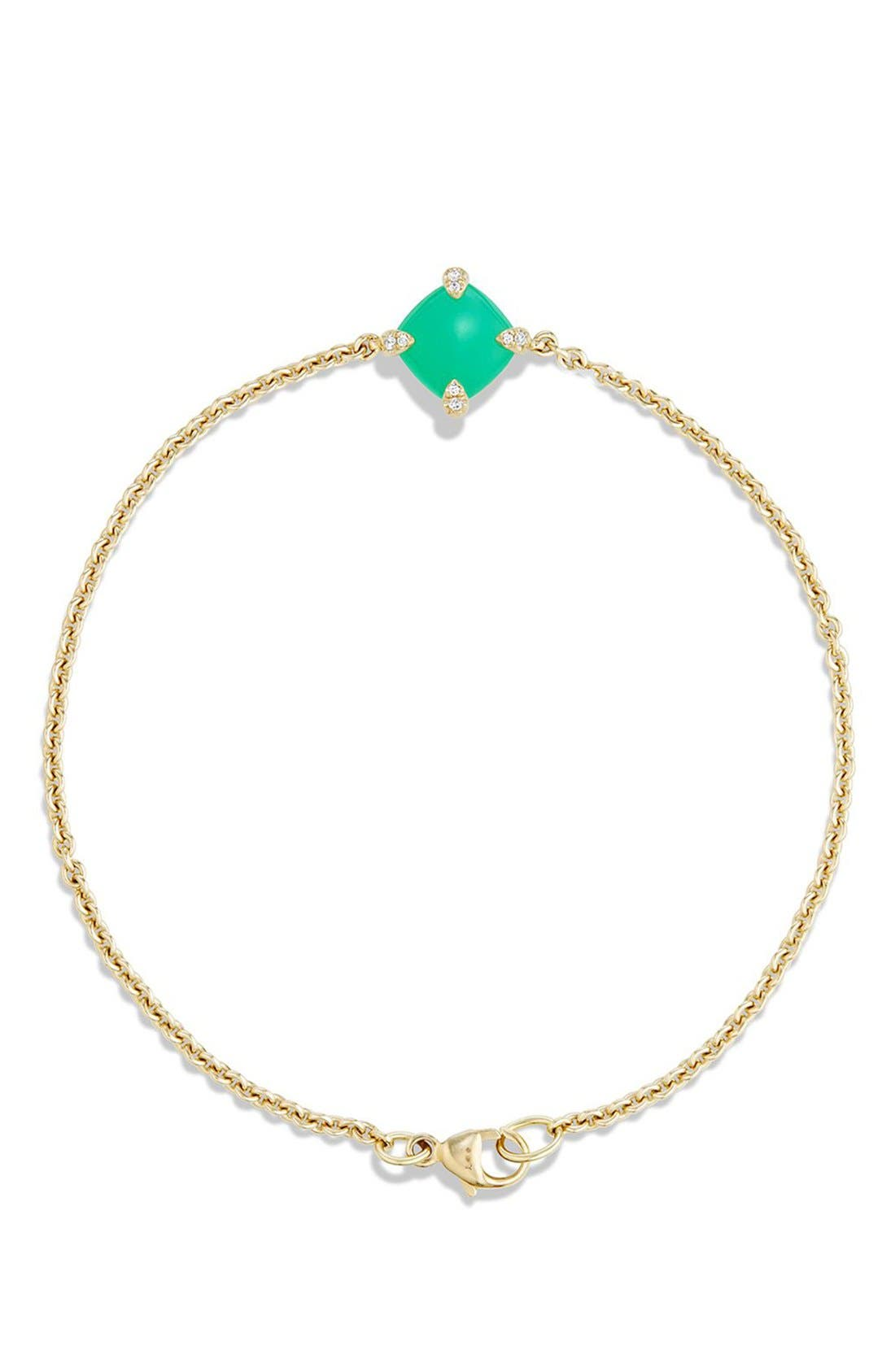 'Châtelaine' Bracelet with Diamonds in 18K Gold,                             Alternate thumbnail 3, color,                             CHRYSOPRASE