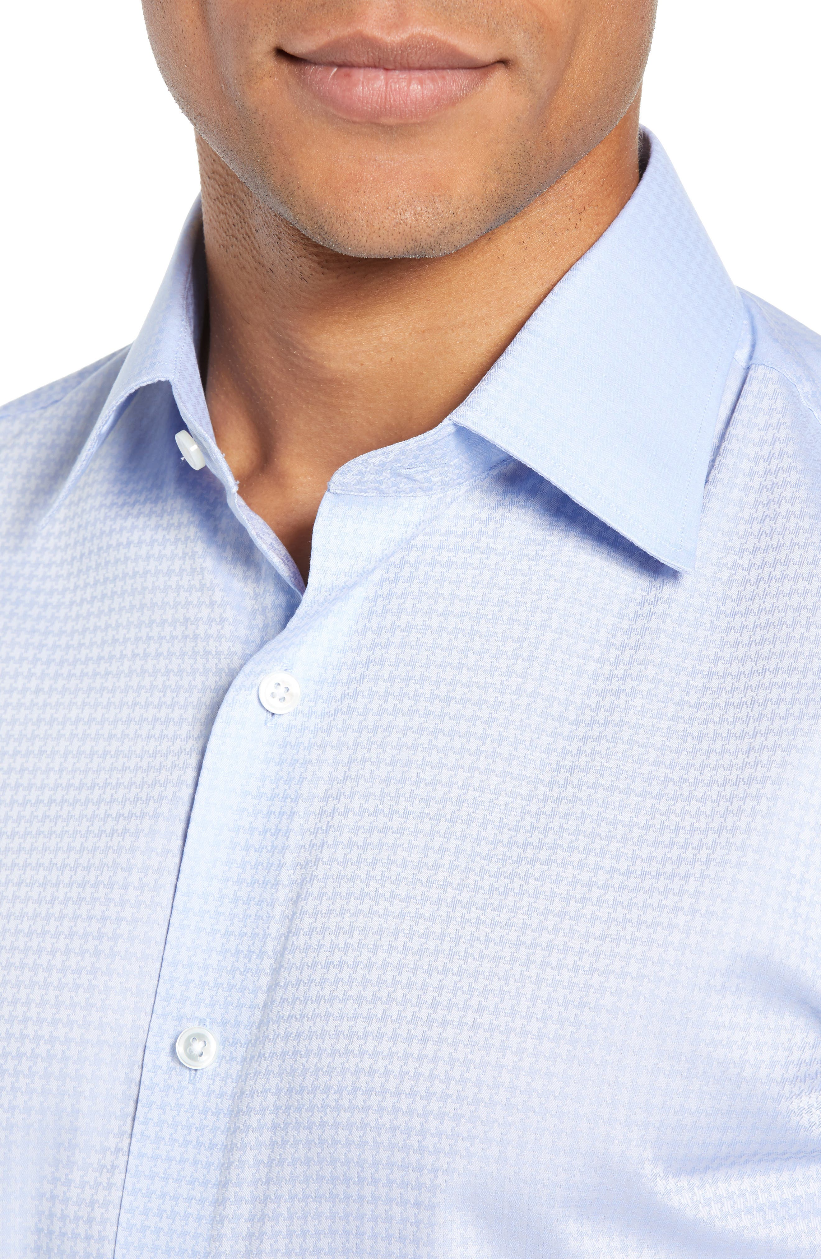 Swiss Performance Clifton Slim Fit Houndstooth Dress Shirt,                             Alternate thumbnail 2, color,                             CANNES BLUE