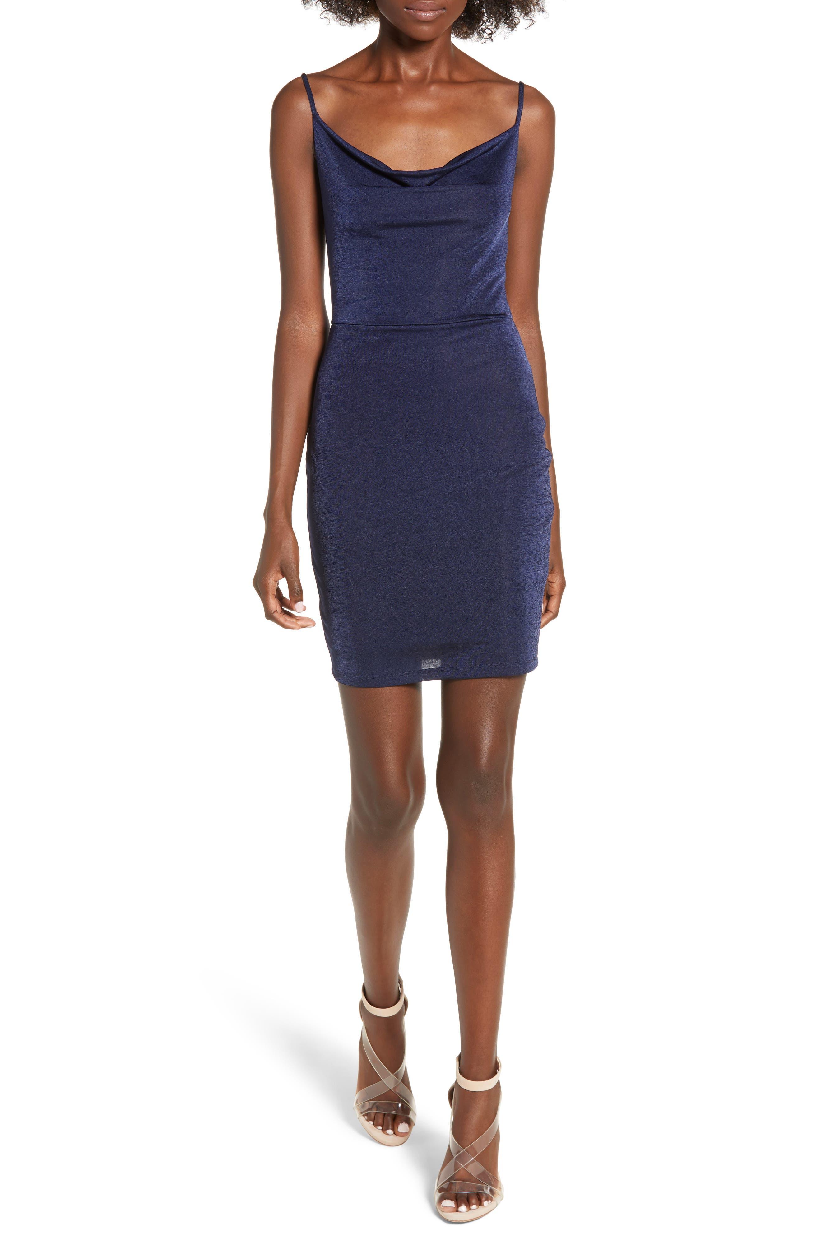 Cowl Neck Minidress,                         Main,                         color, NAVY