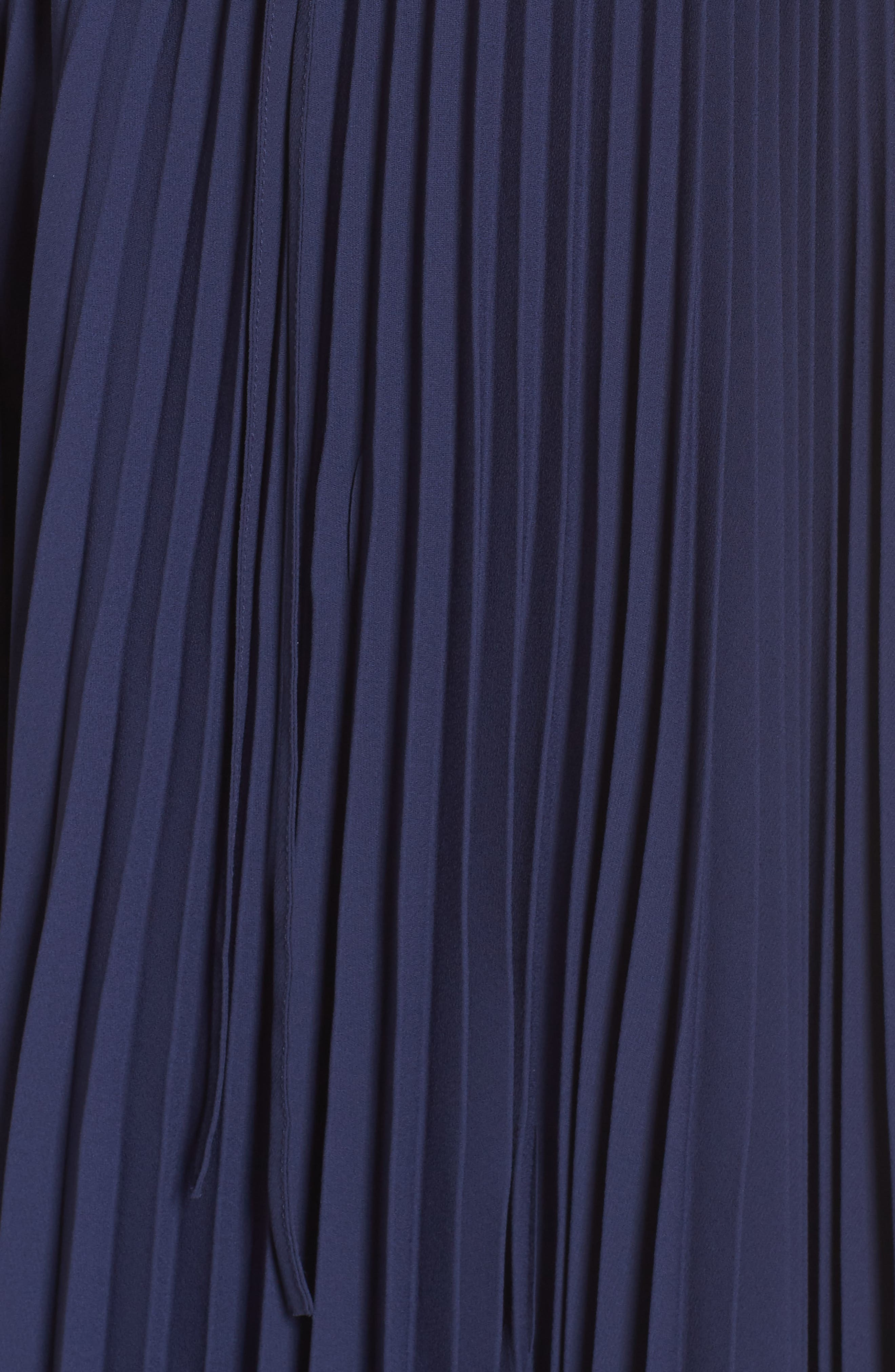 Elise Off the Shoulder Pleated Georgette Dress,                             Alternate thumbnail 6, color,                             NAVY W/ SELF PIPING