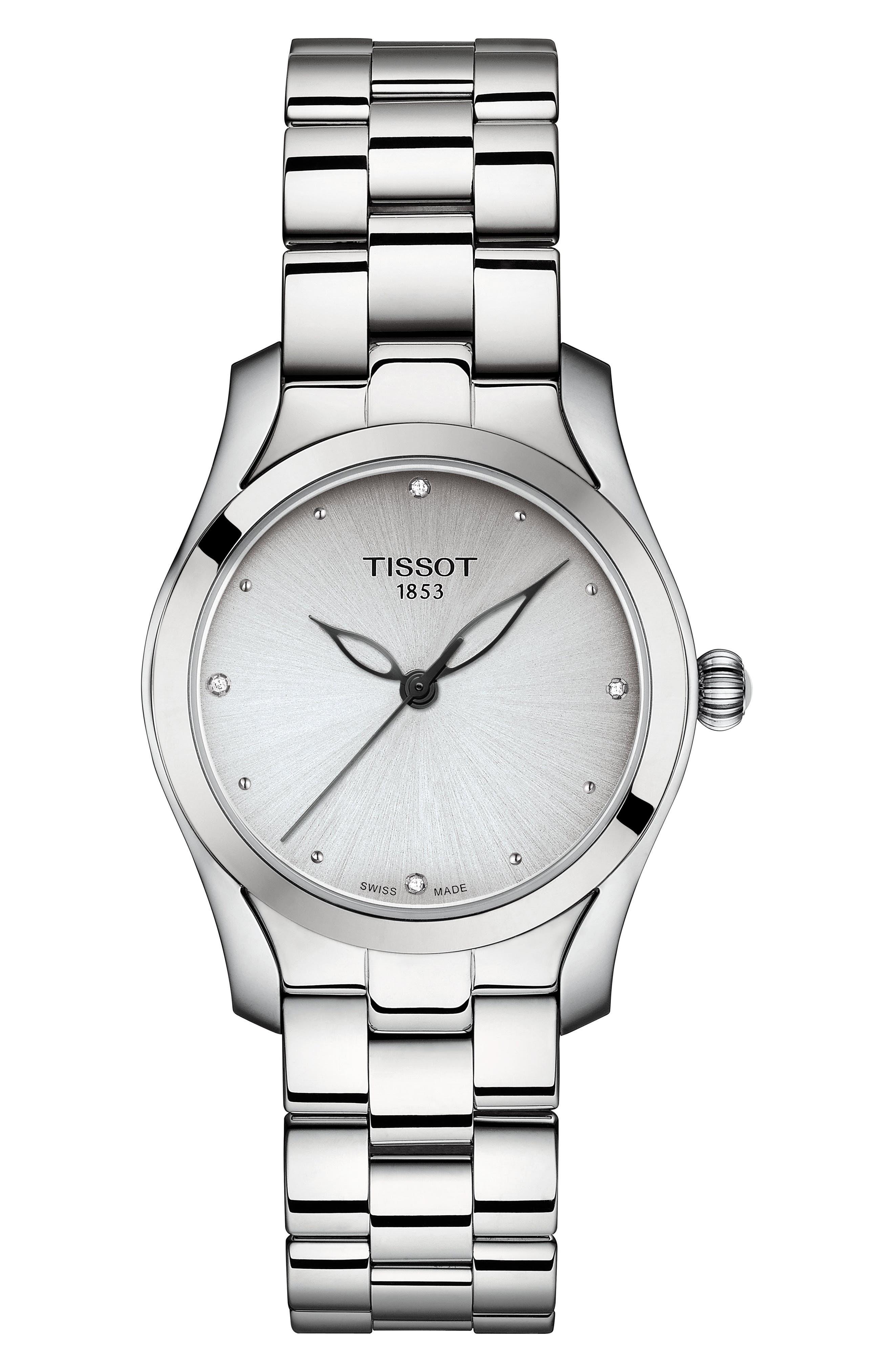 TISSOT,                             T-Wave Bracelet Watch, 30mm,                             Main thumbnail 1, color,                             SILVER