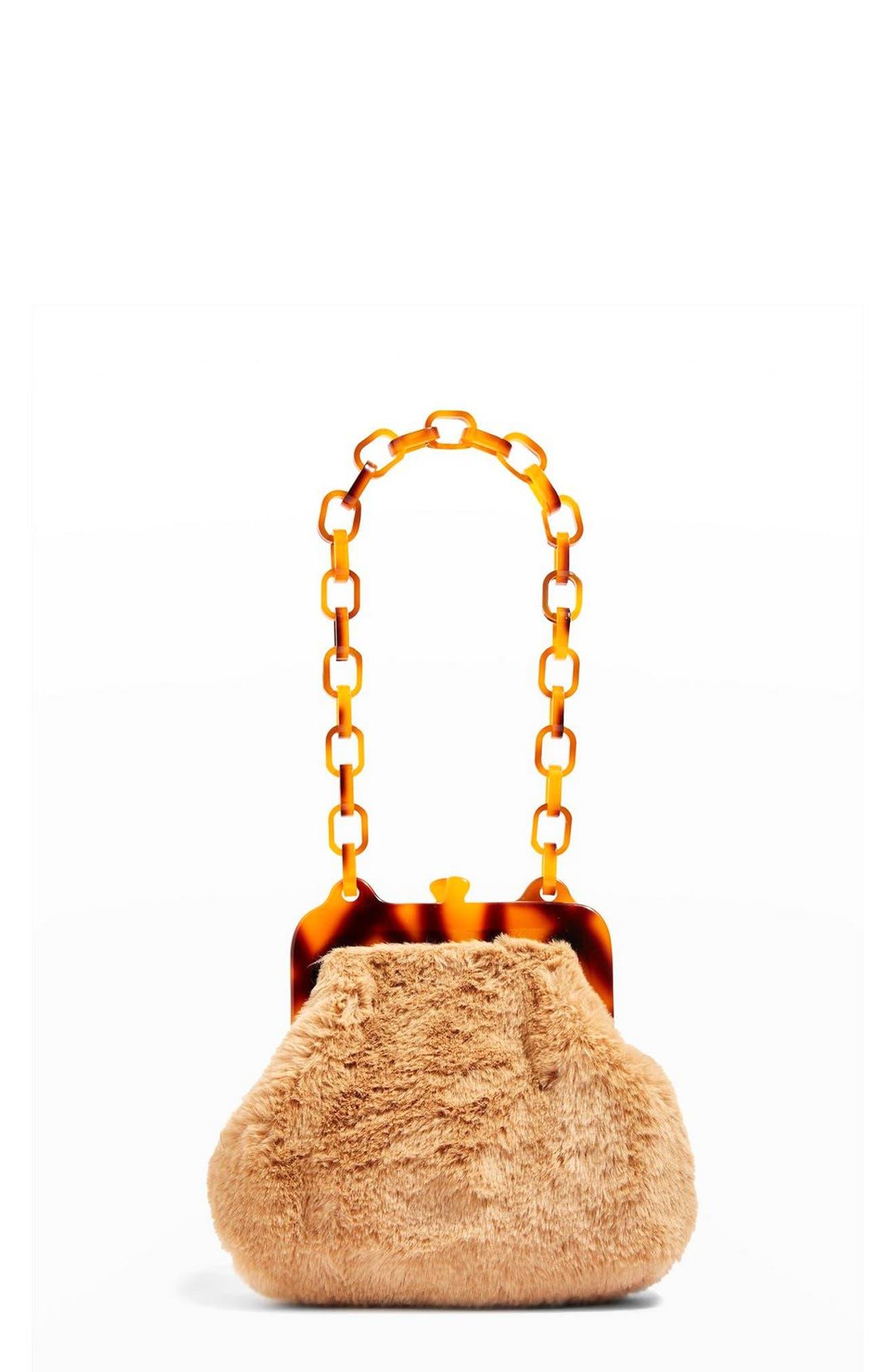 Faux Fur Frame Bag,                         Main,                         color, TAUPE