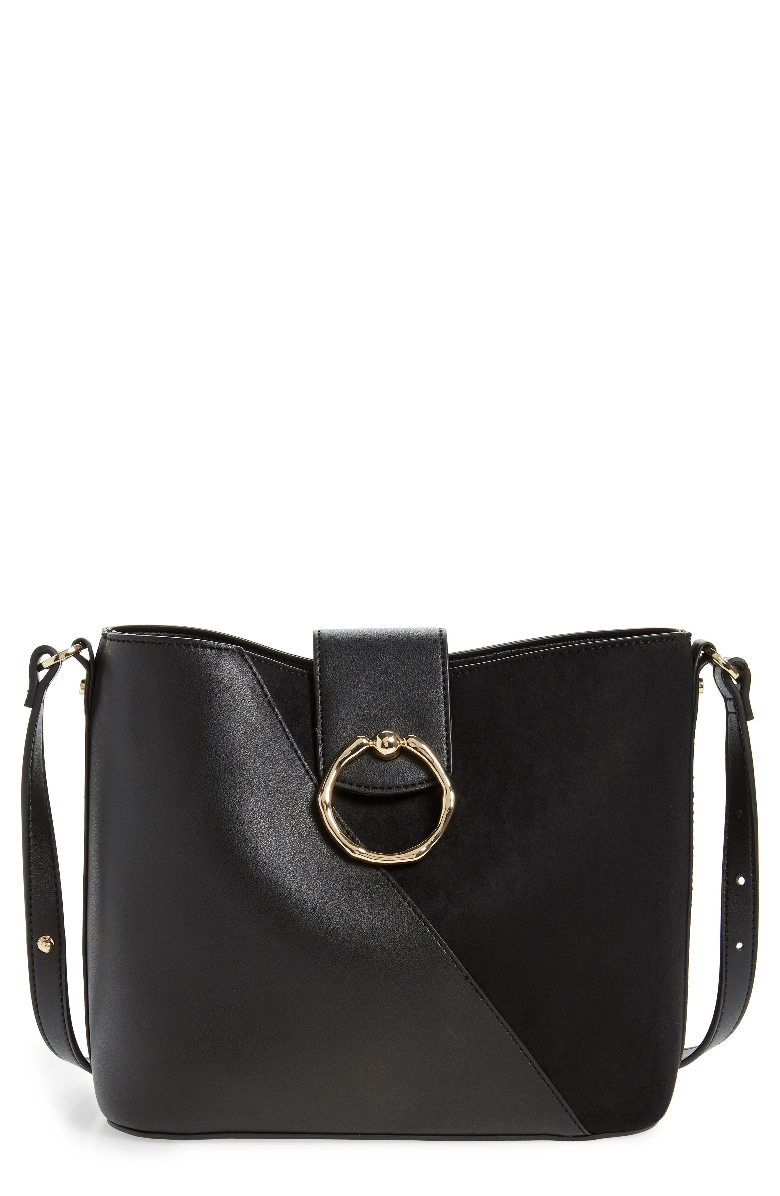 c394621377 Topshop Spark Piece Faux Leather Hobo Bag - Black