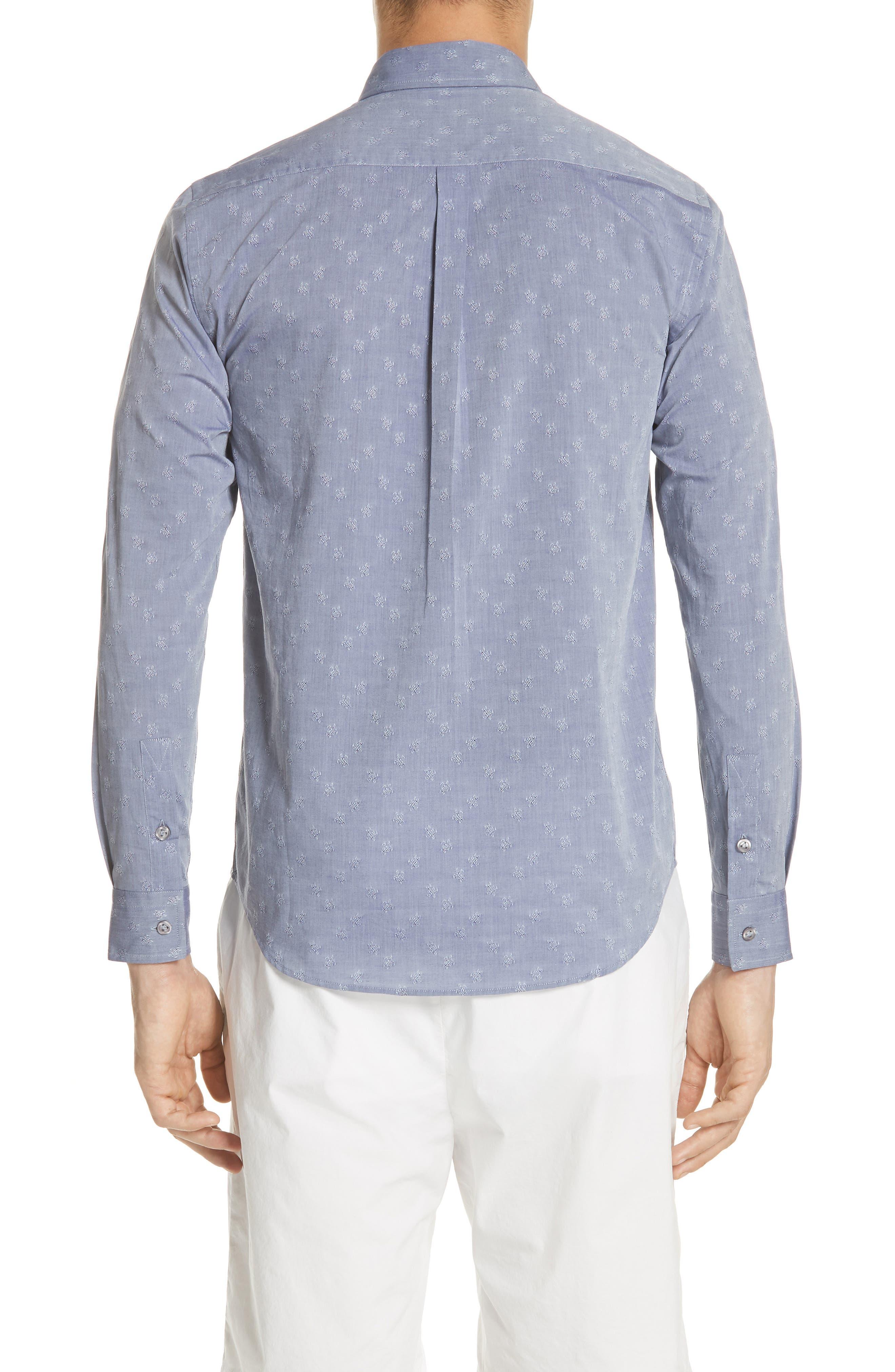 Turtle Jacquard Sport Shirt,                             Alternate thumbnail 2, color,                             NAVY