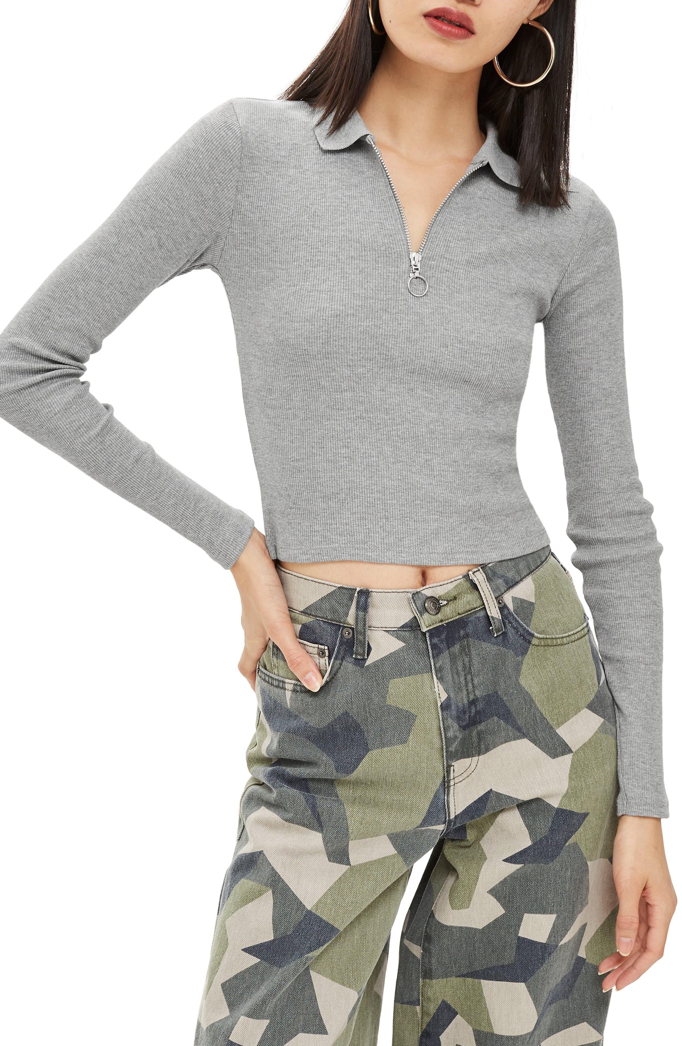 Front Zip Polo Shirt,                         Main,                         color, GREY MARL