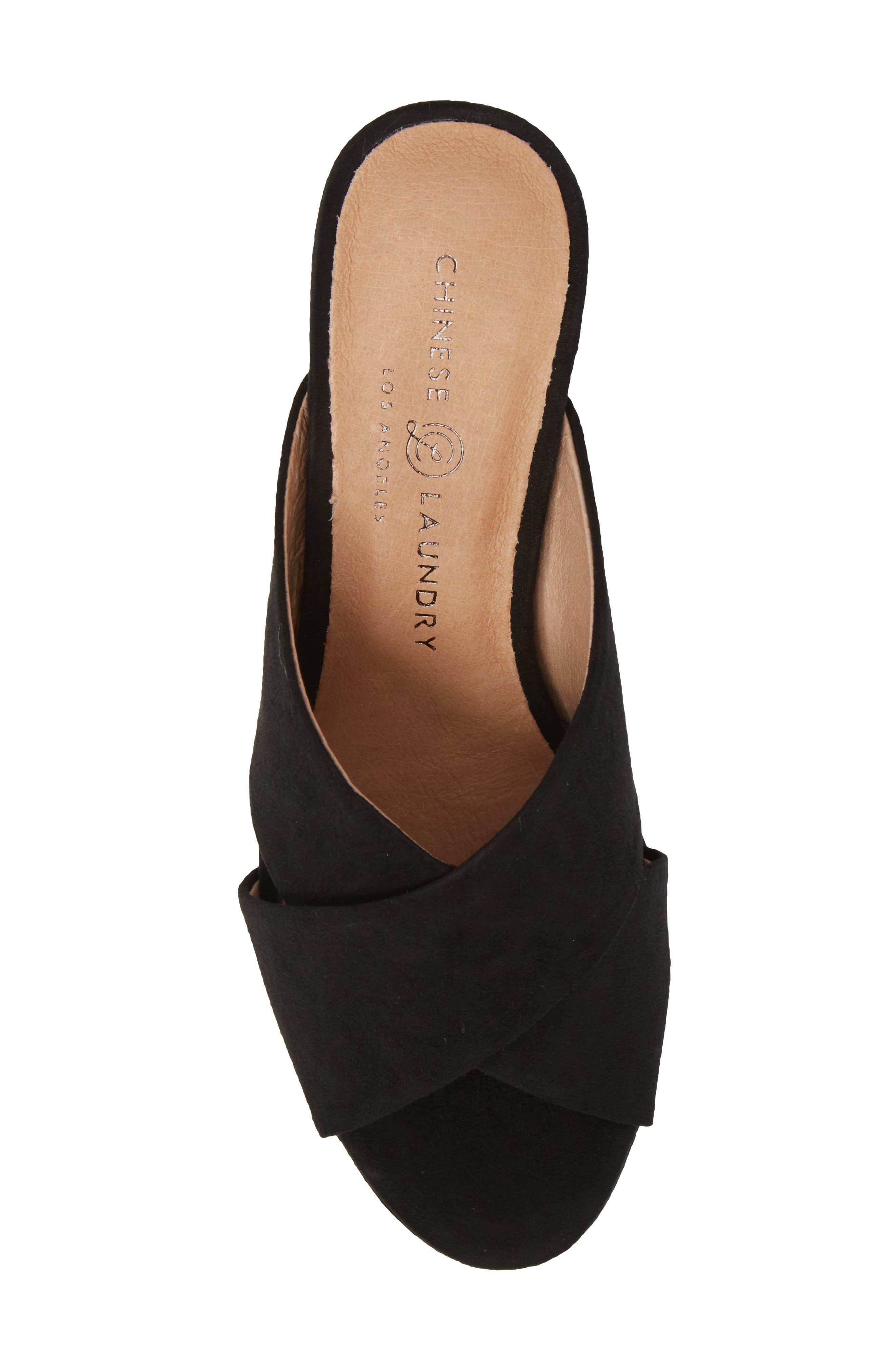 Teagan Cross Strap Platform Sandal,                             Alternate thumbnail 5, color,                             BLACK