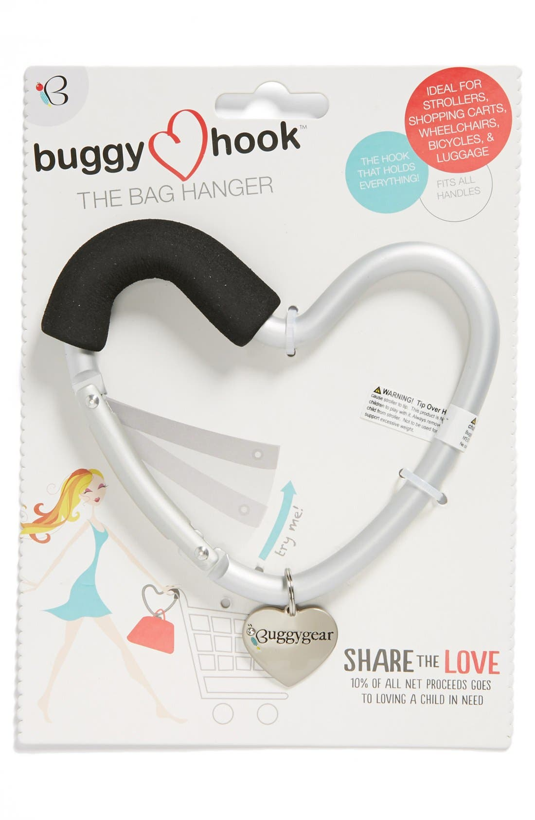 Buggygear 'Buggy Heart Hook' Stroller Bag Hanger,                             Main thumbnail 1, color,                             SILVER/ BLACK