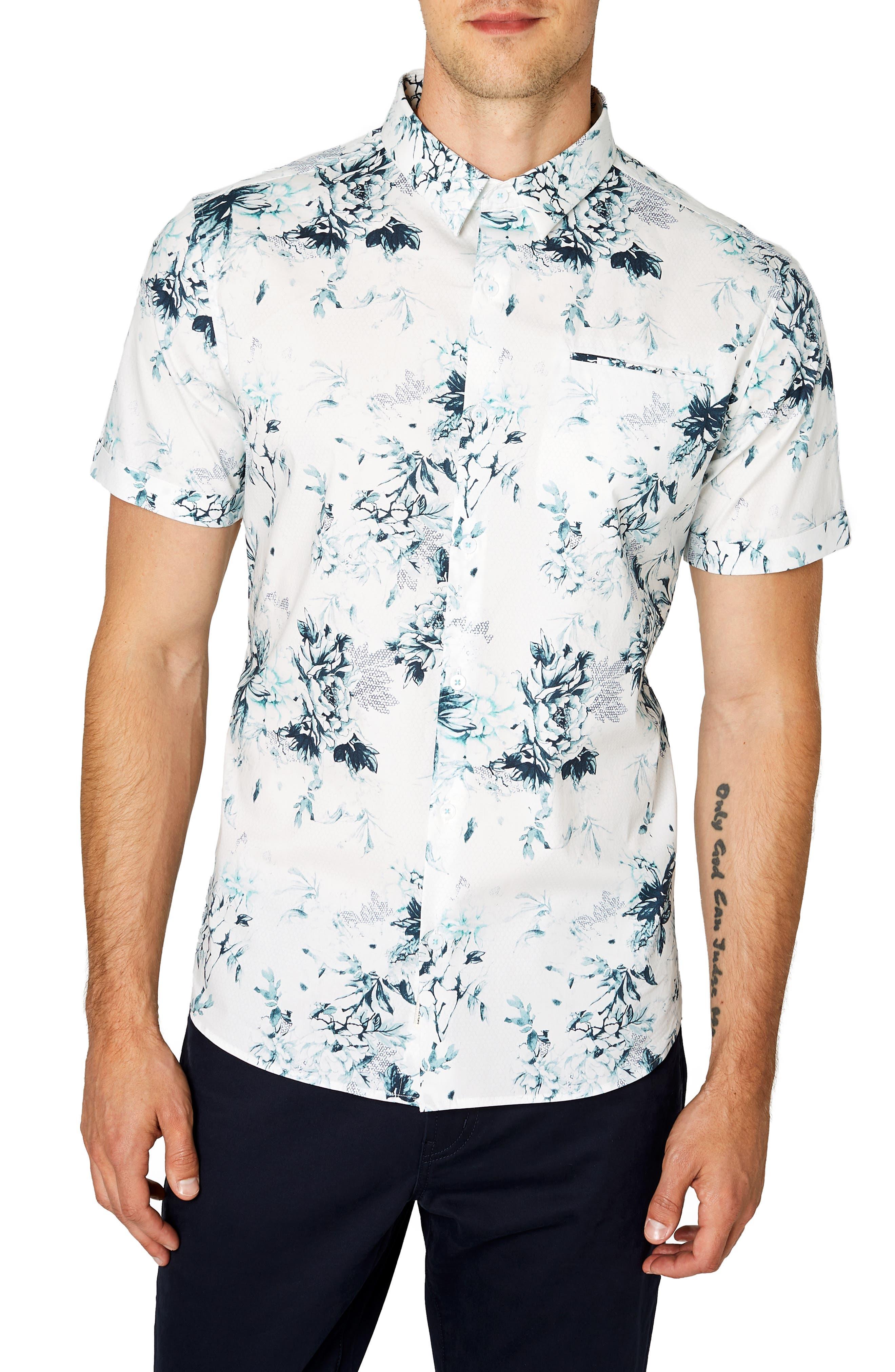 7 Diamonds Aura Floral Sport Shirt, Green