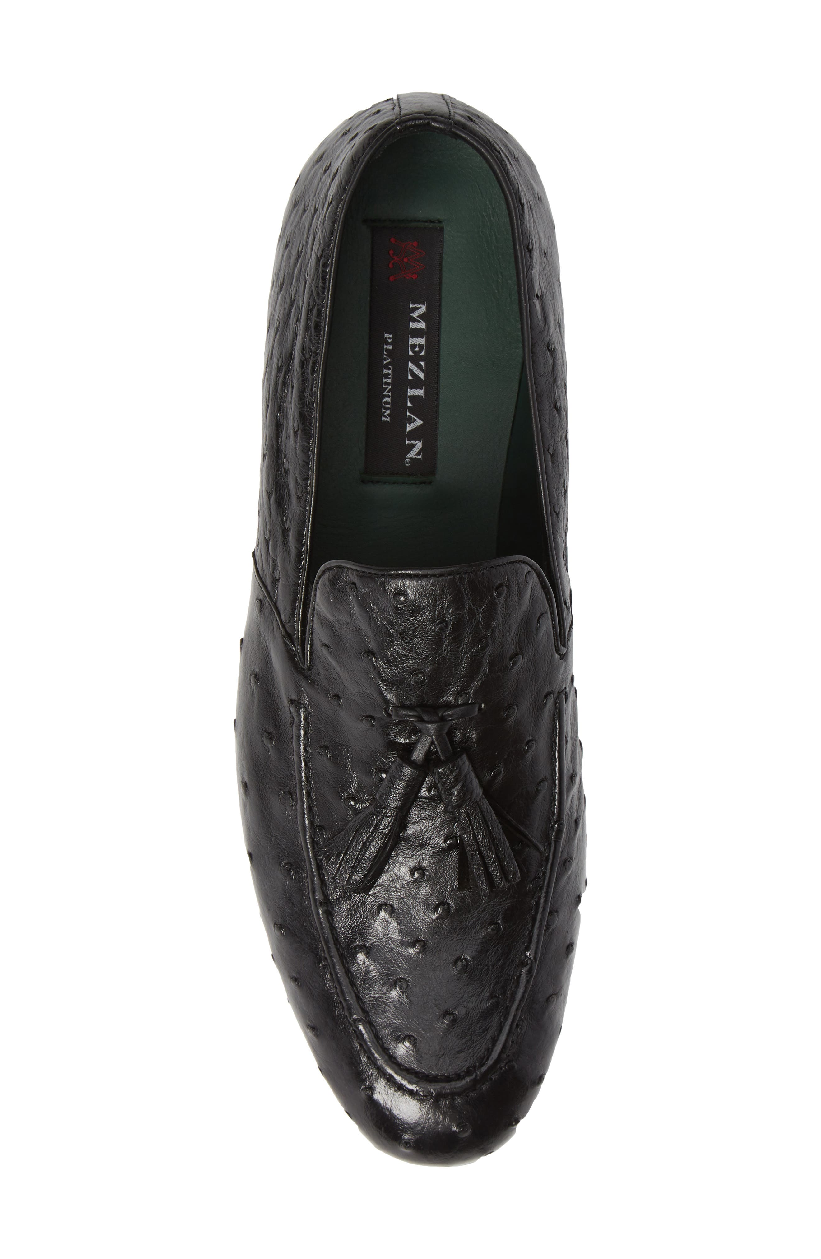 Conte Tassel Ostrich Leather Loafer,                             Alternate thumbnail 5, color,                             BLACK LEATHER