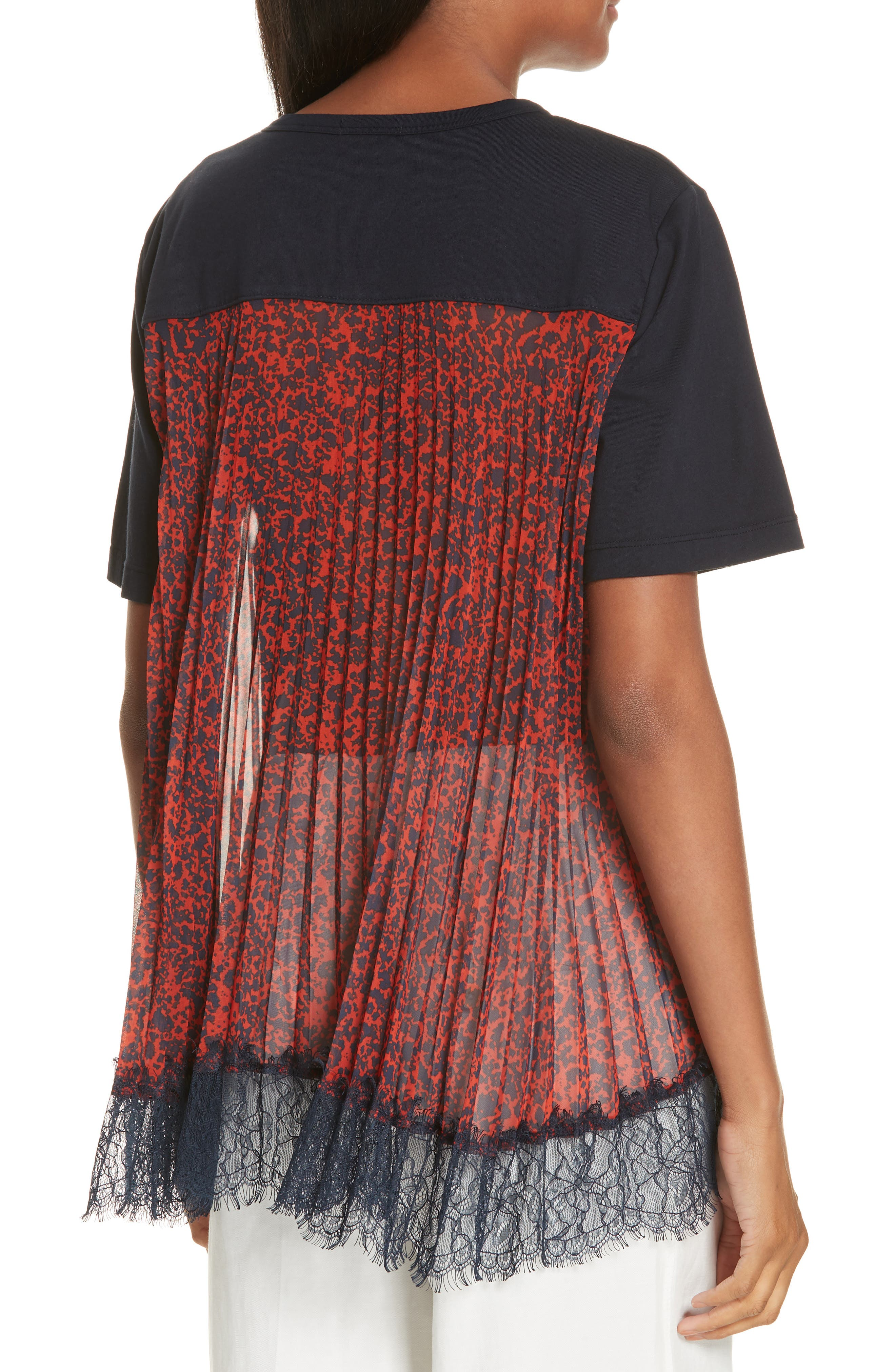 Mix Media Pleat Lace Detail Tee,                             Alternate thumbnail 2, color,                             NAVY
