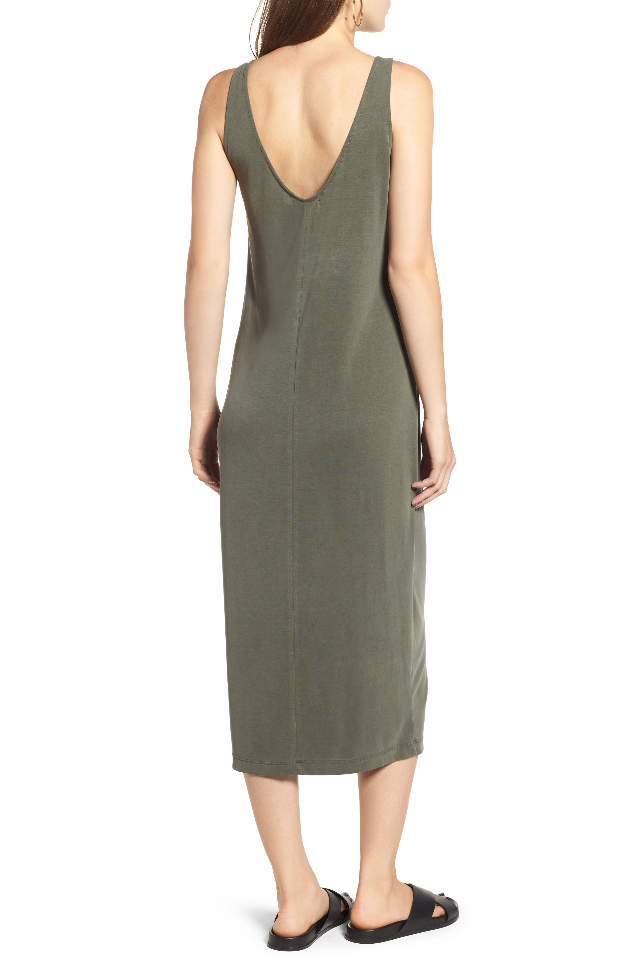 Tank Midi Dress,                             Alternate thumbnail 2, color,                             OLIVE BURNT