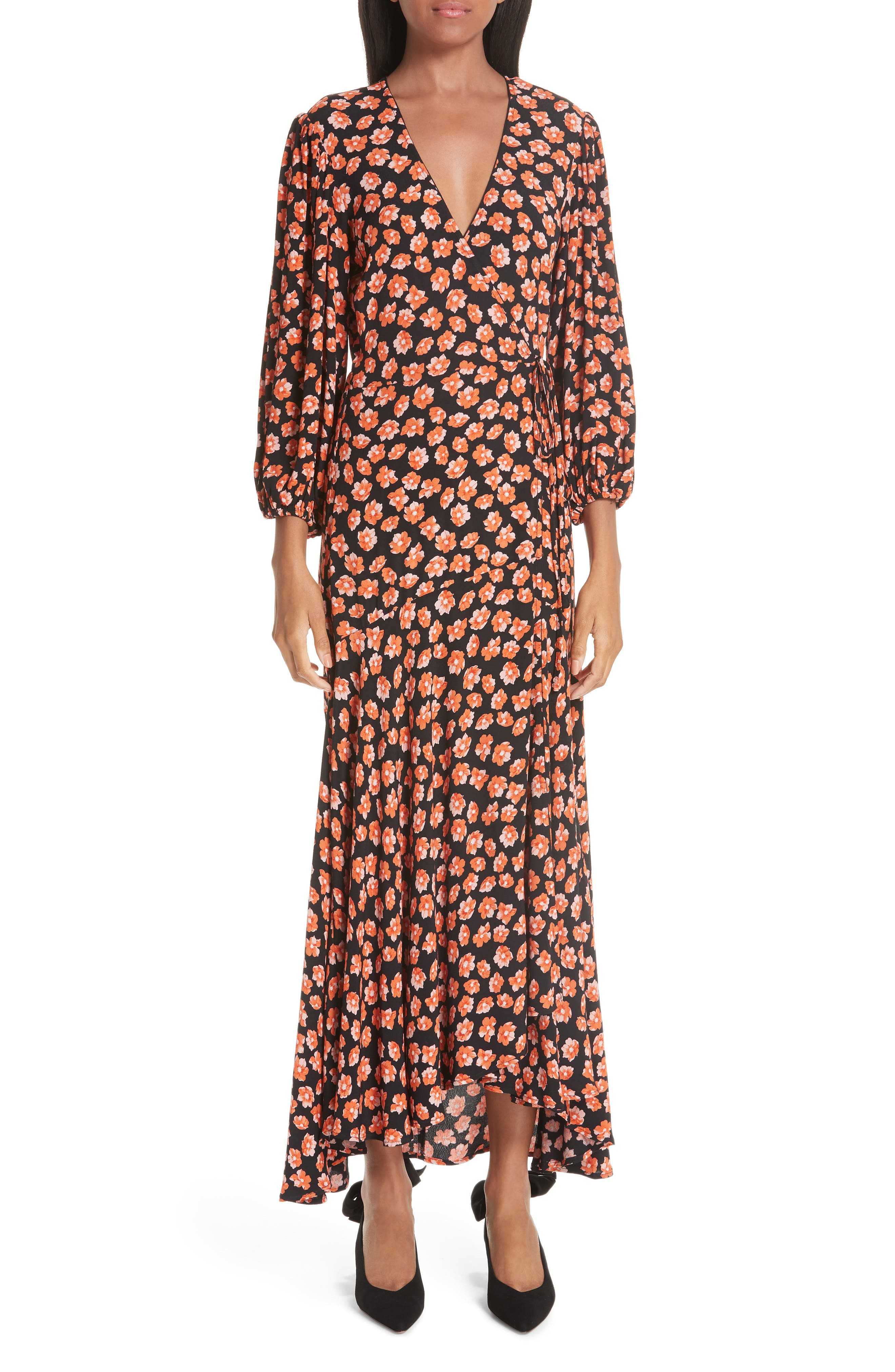 Print Crepe Dress,                             Main thumbnail 1, color,                             FIERY RED 403
