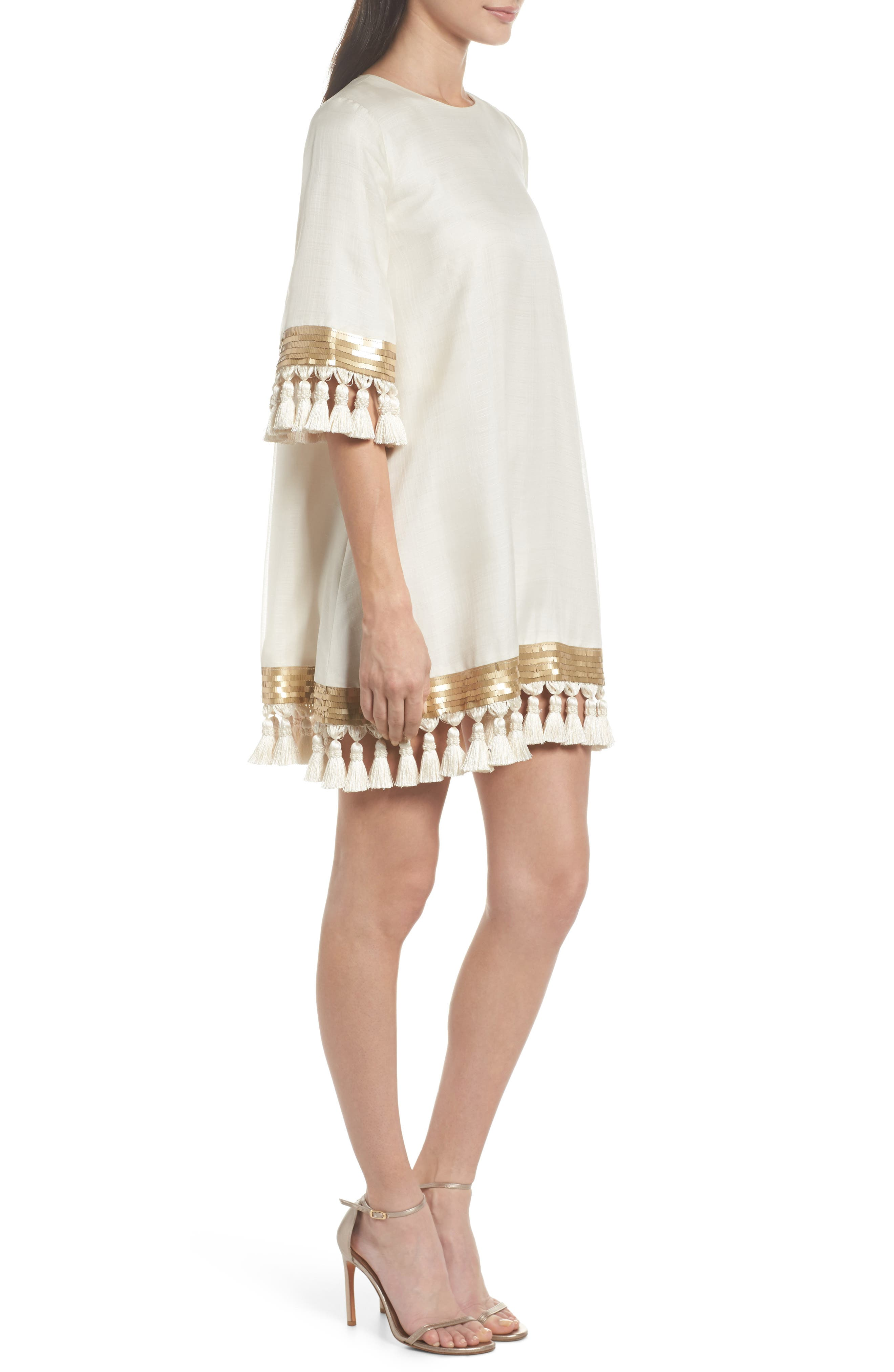 Mestiza Shimmy Shimmy Silk Tassel Shift Dress,                             Alternate thumbnail 3, color,                             901
