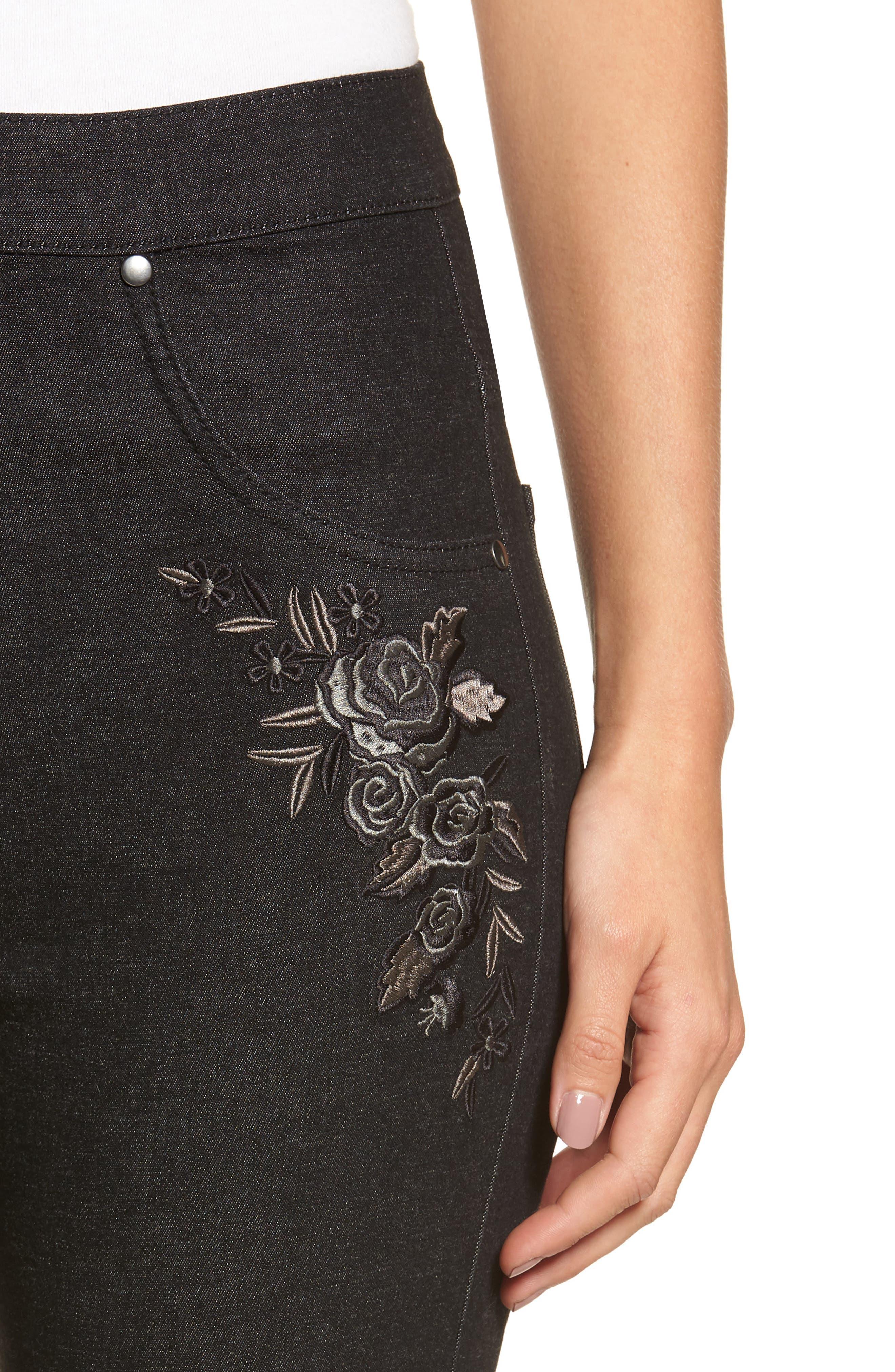 Embroidered Crop Denim Leggings,                             Alternate thumbnail 4, color,                             BLACK