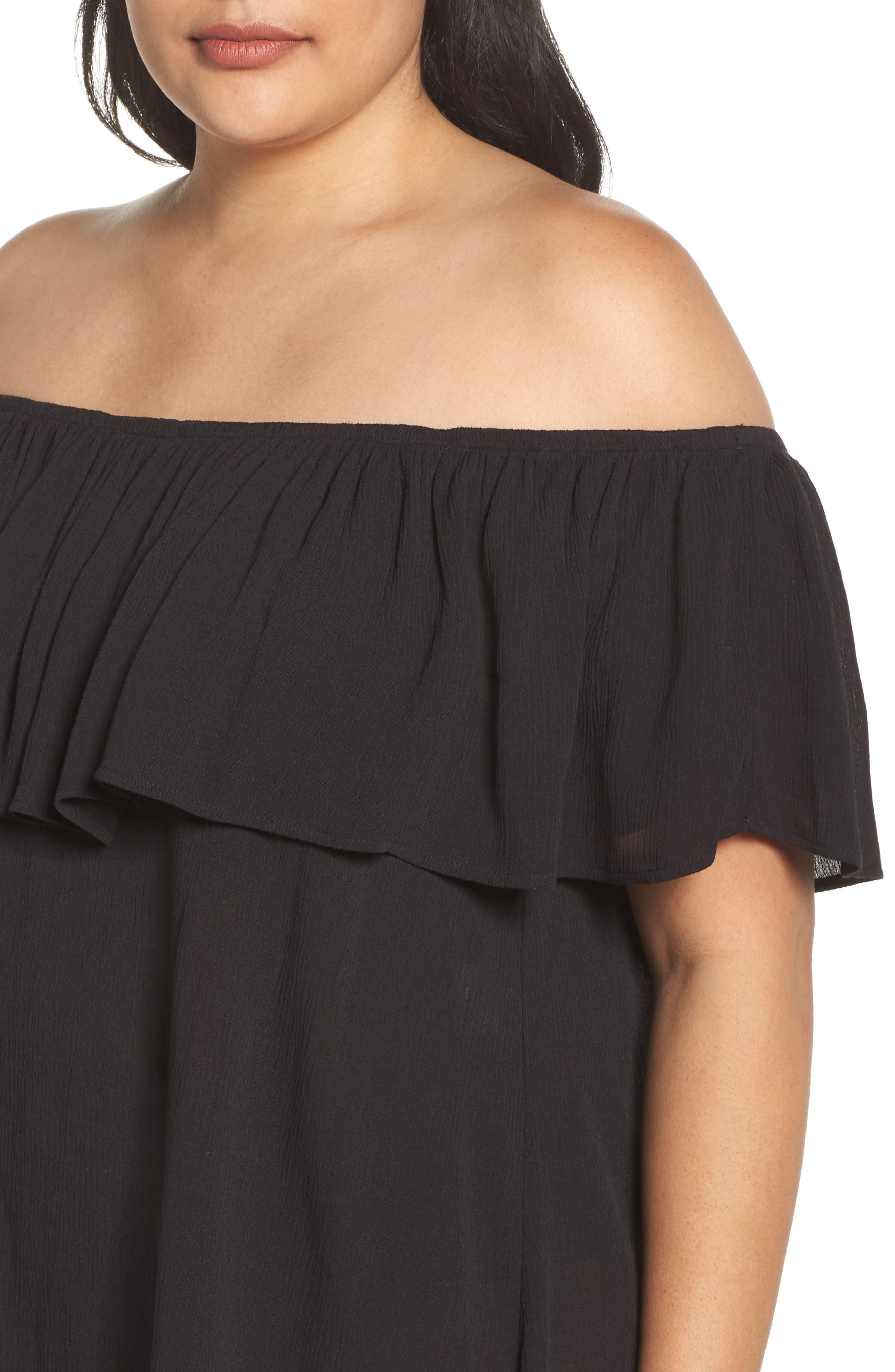 Southern Belle Off the Shoulder Cover-Up Dress,                             Alternate thumbnail 4, color,                             001