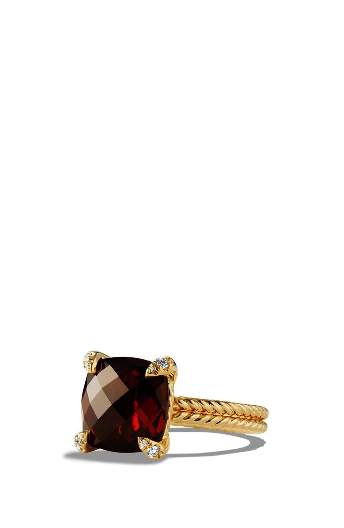 Châtelaine Ring with Hampton Blue Topaz and Diamonds in 18K Gold,                         Main,                         color, GARNET