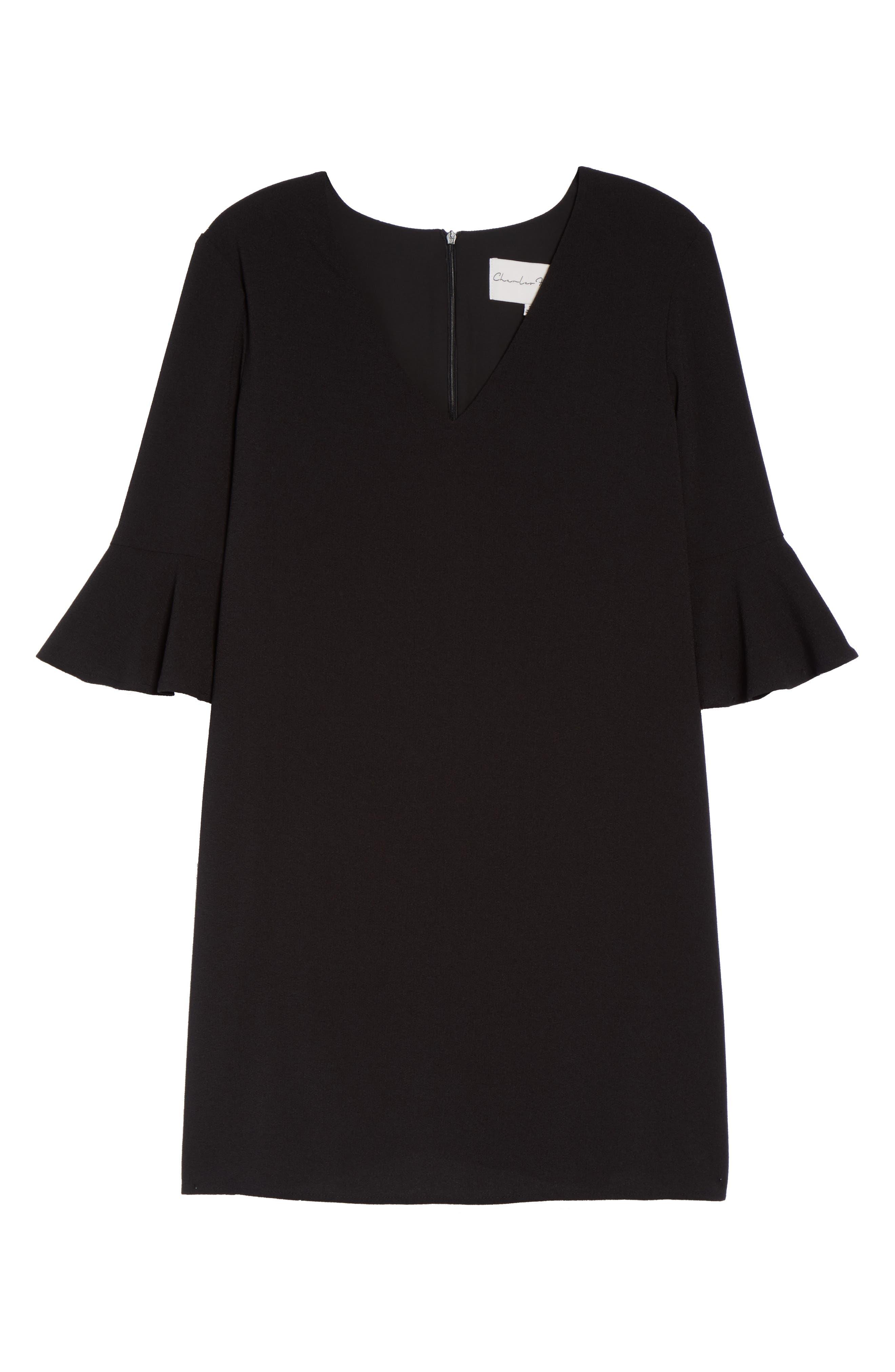 Ruffle Sleeve Shift Dress,                             Alternate thumbnail 6, color,                             001