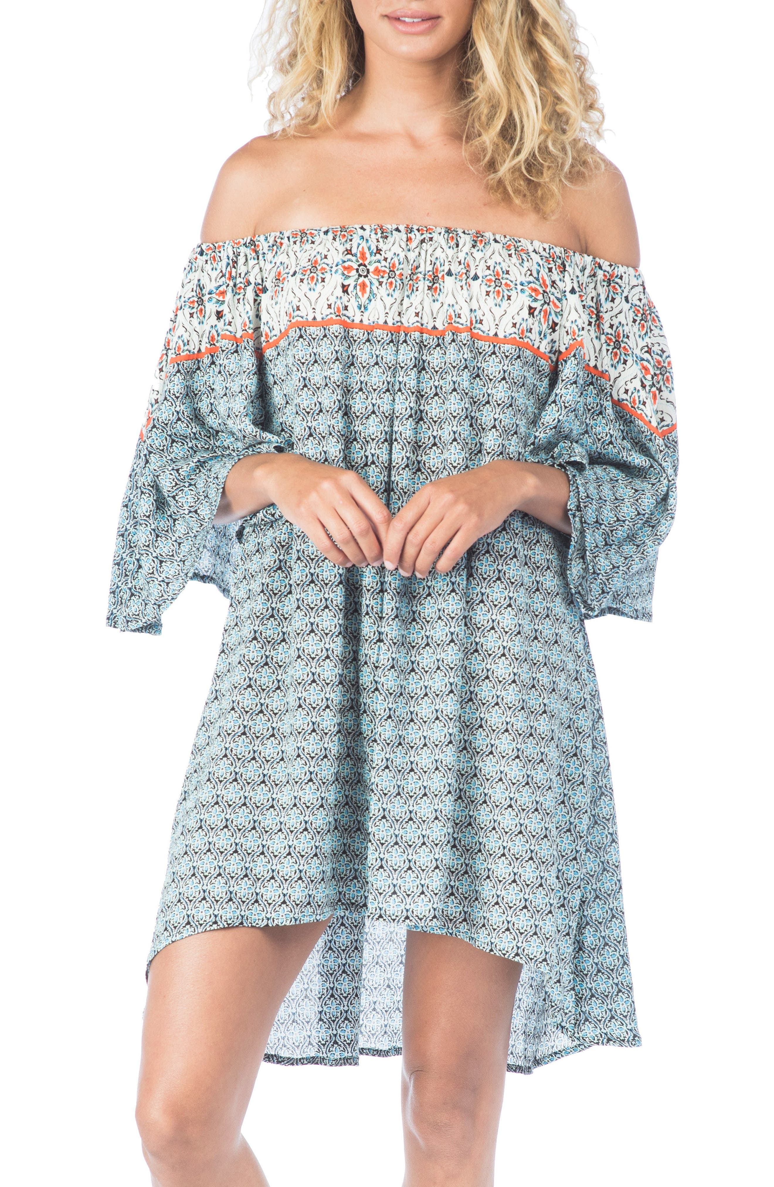 Monaco Tile Cover-Up Dress,                             Main thumbnail 1, color,                             002