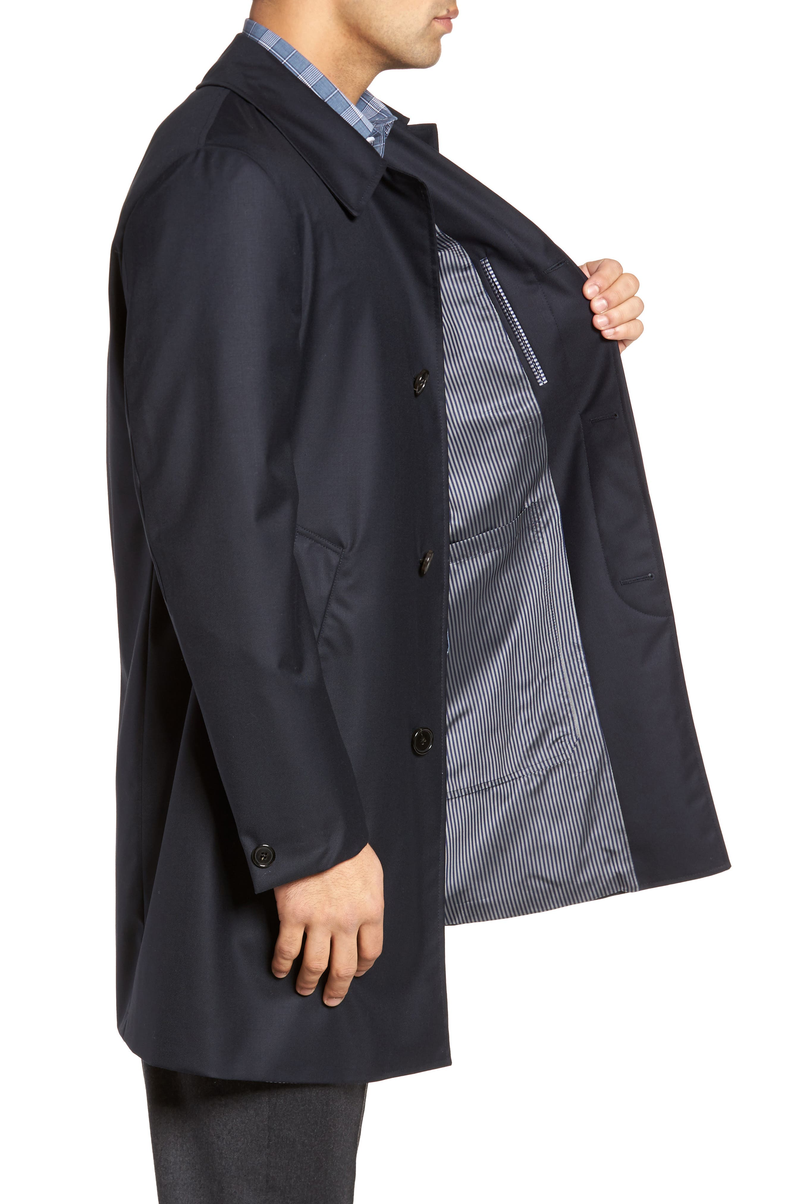 Classic Fit Wool & Cashmere Traveler Topcoat,                             Alternate thumbnail 3, color,                             NAVY SOLID