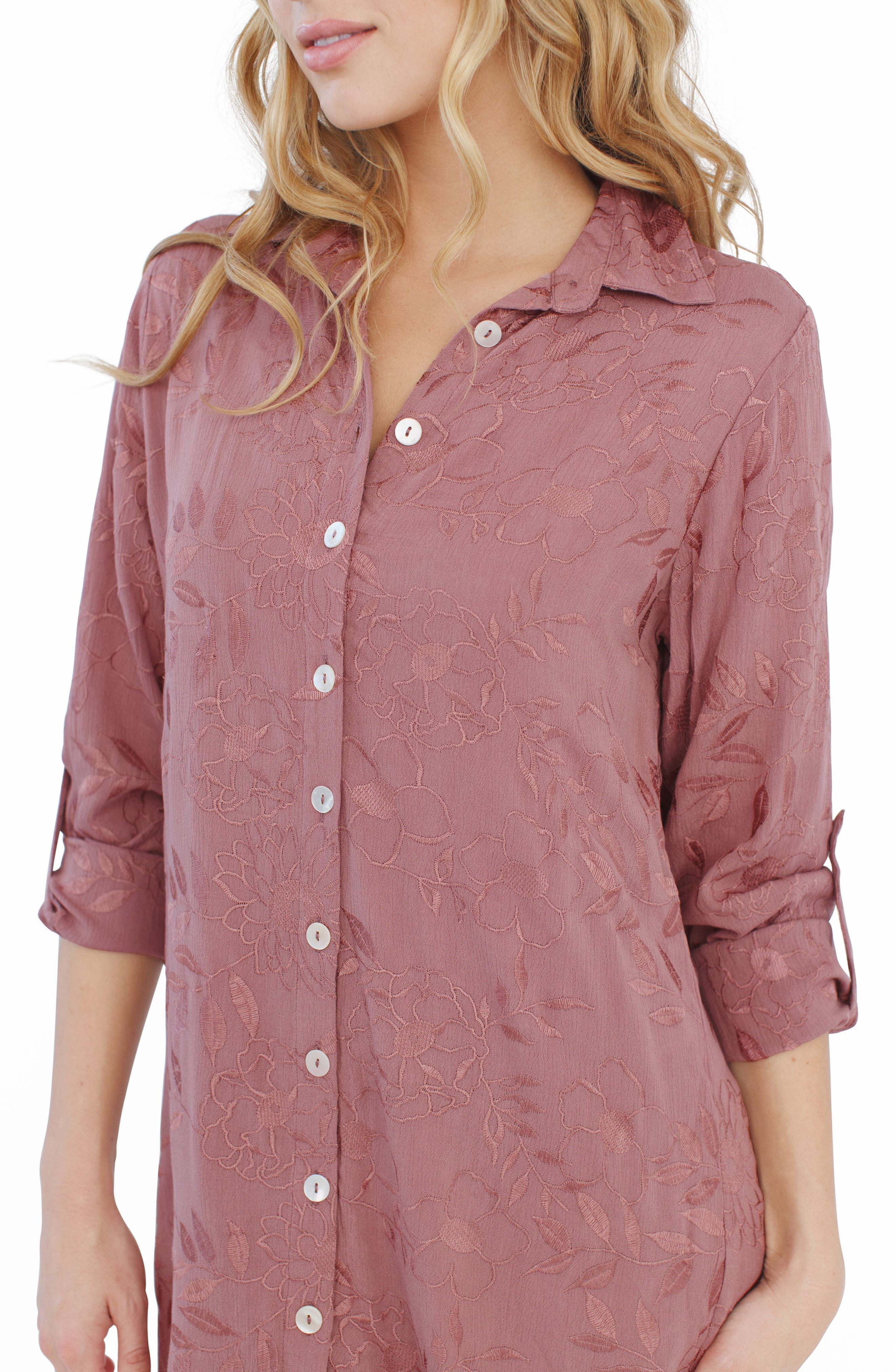 Floral Embroidered Nightshirt,                             Alternate thumbnail 3, color,                             510