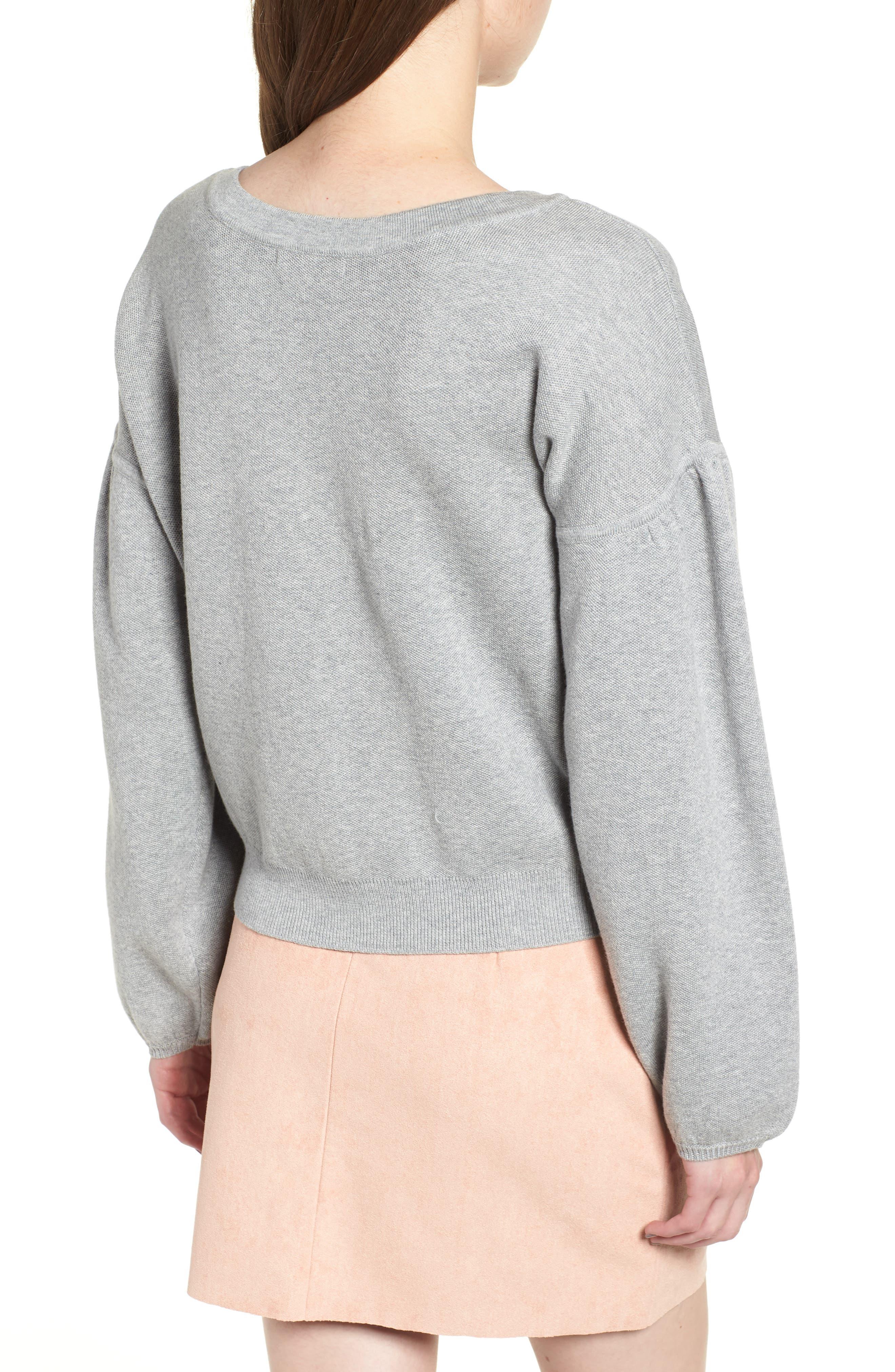 Hailey Balloon Sleeve Sweater,                             Alternate thumbnail 2, color,                             GREY