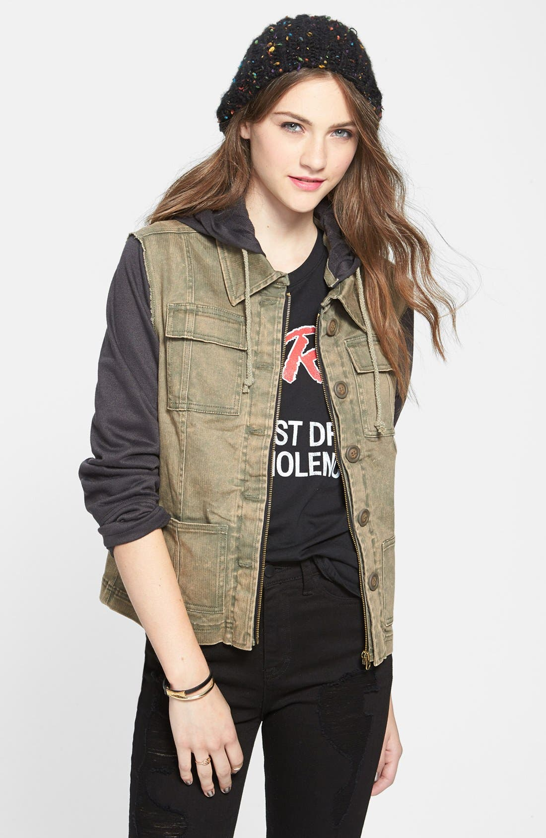 Contrast Sleeve Twill Jacket,                         Main,                         color, 300