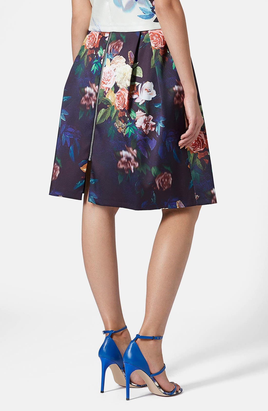 Blur Rose Print Midi Skirt,                             Alternate thumbnail 4, color,                             410