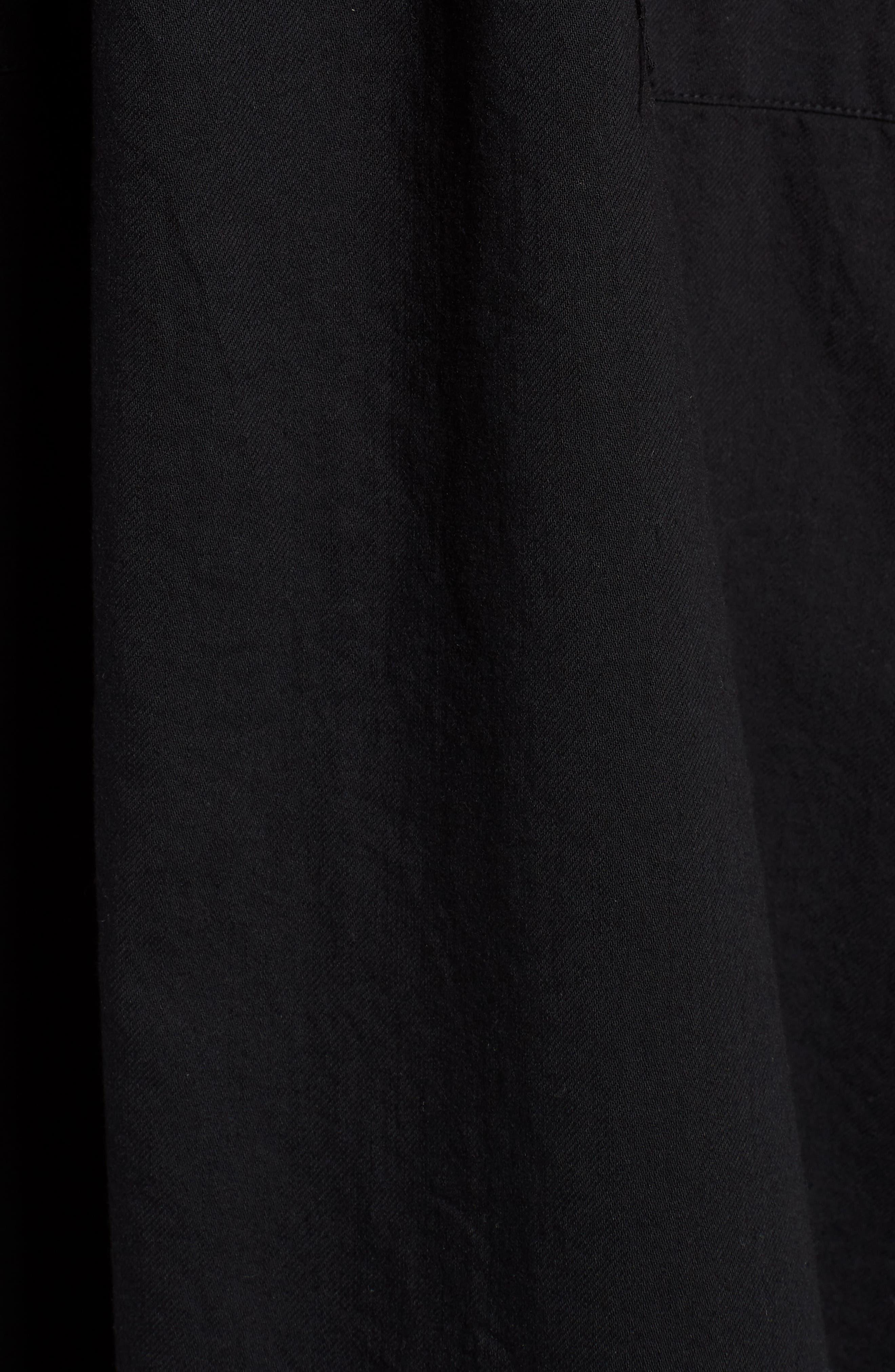 Drawstring Organic Cotton Midi Dress,                             Alternate thumbnail 6, color,                             001