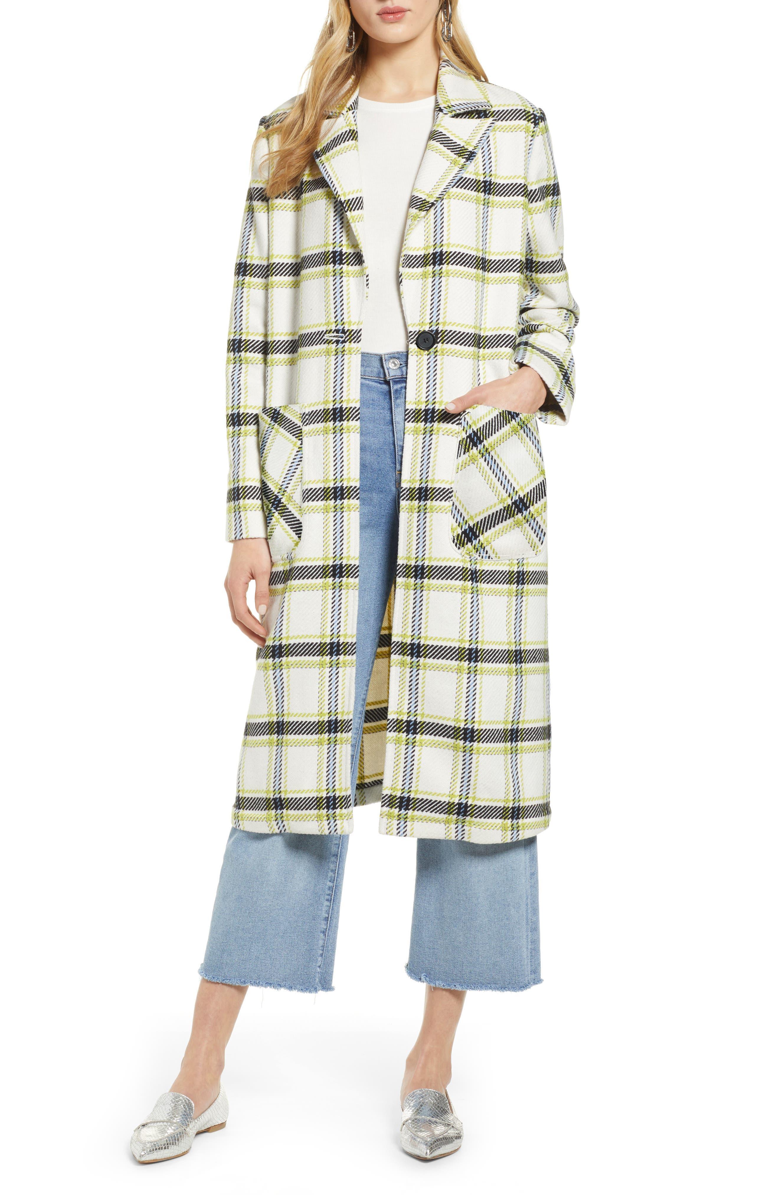 Plaid Coat,                             Main thumbnail 1, color,                             IVORY MULTI CHECK