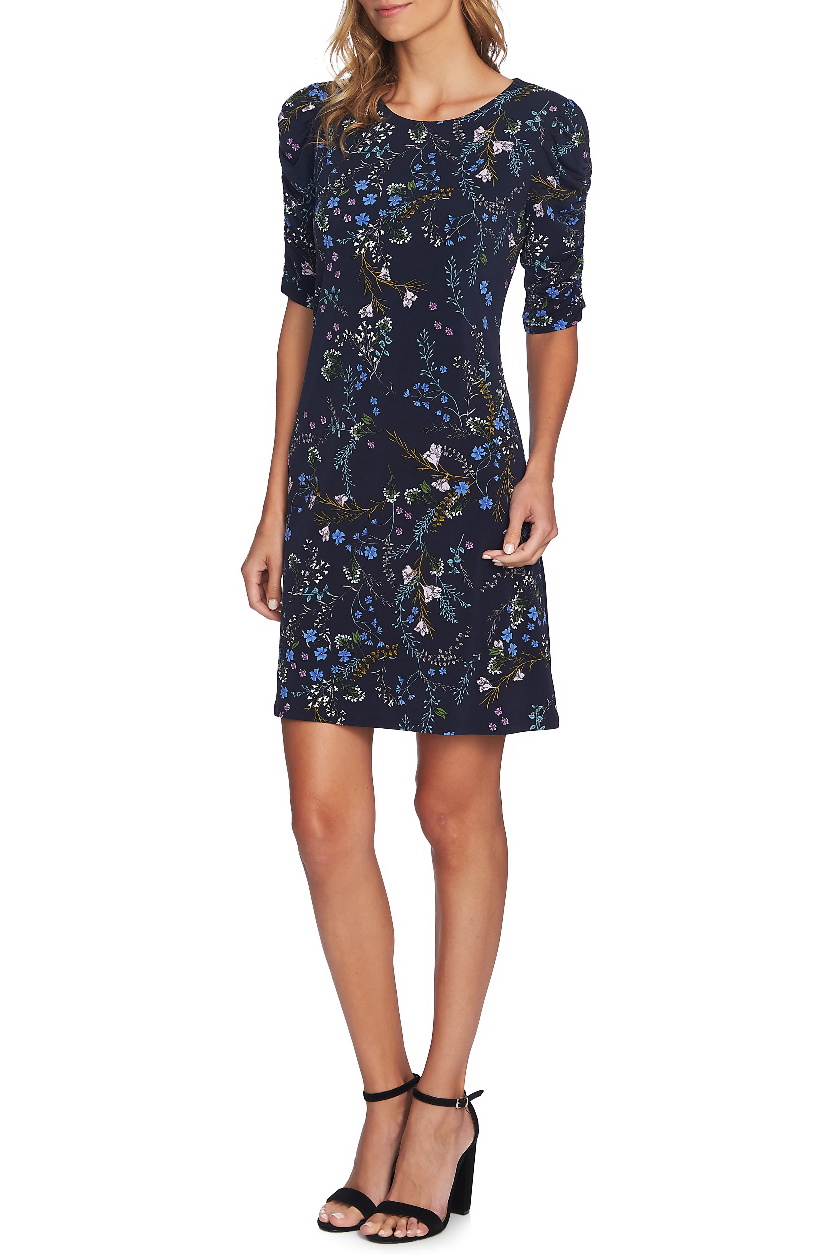 Ruched Sleeve Floral Vine Dress,                             Main thumbnail 1, color,                             CAVIAR