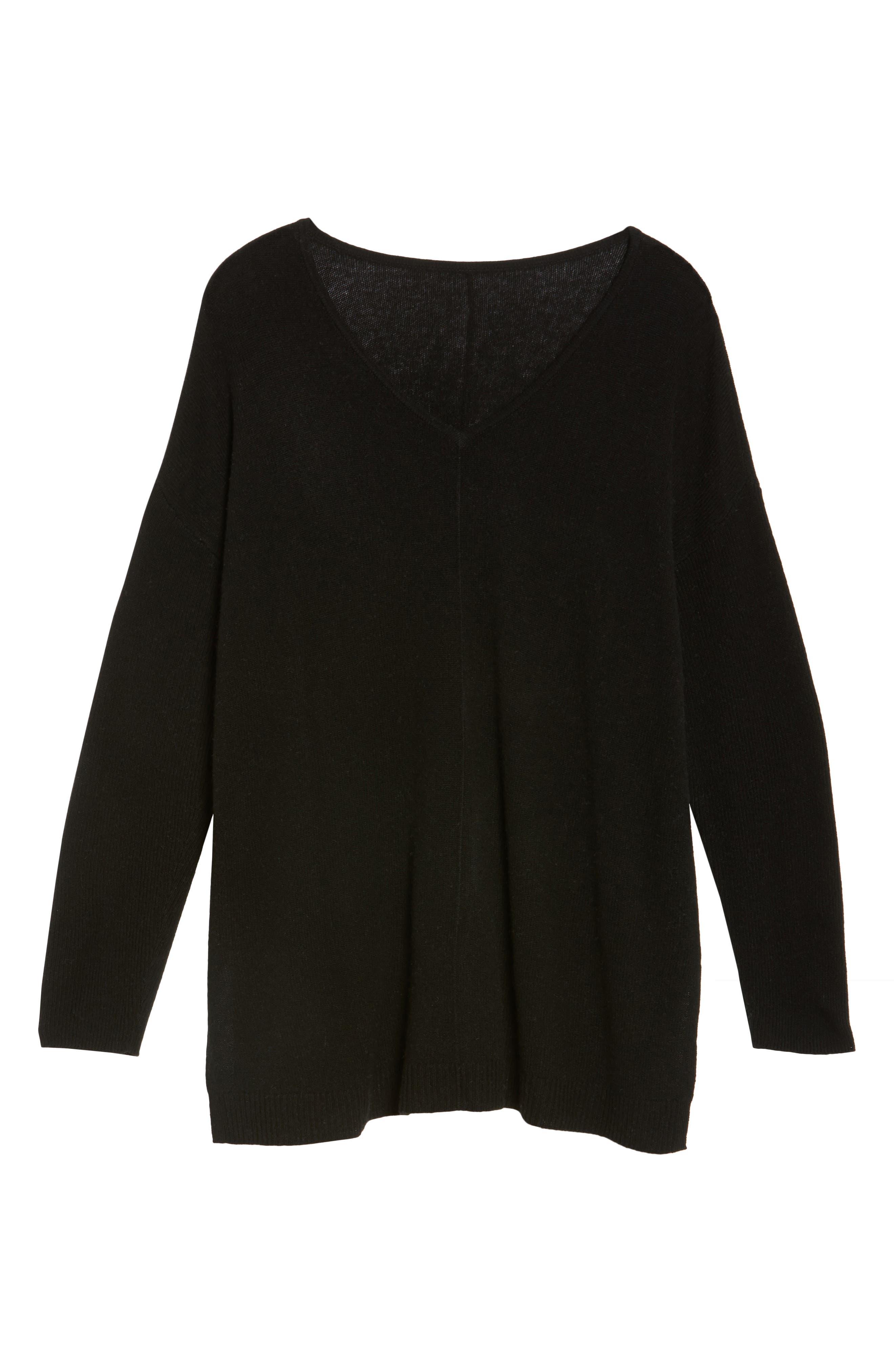 Easy V-Neck Wool & Cashmere Pullover,                             Alternate thumbnail 6, color,                             001