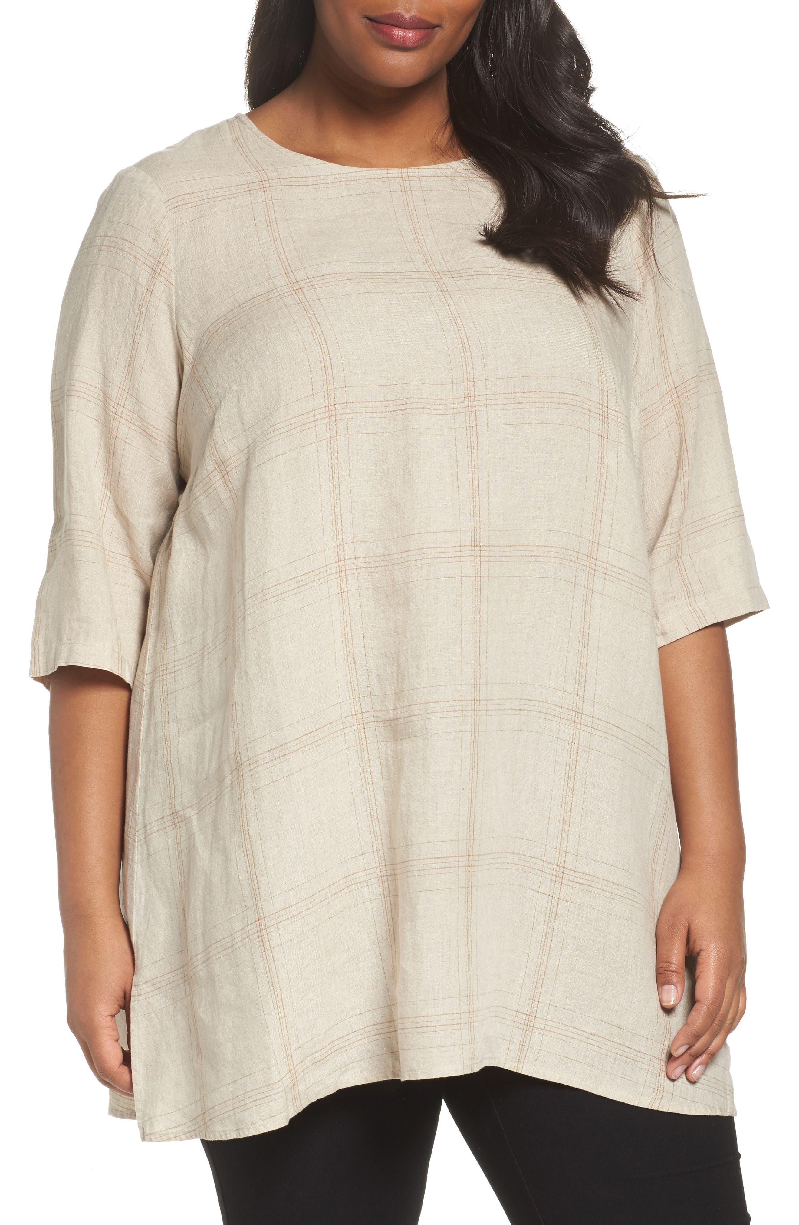 Plaid Organic Linen Tunic,                             Main thumbnail 2, color,