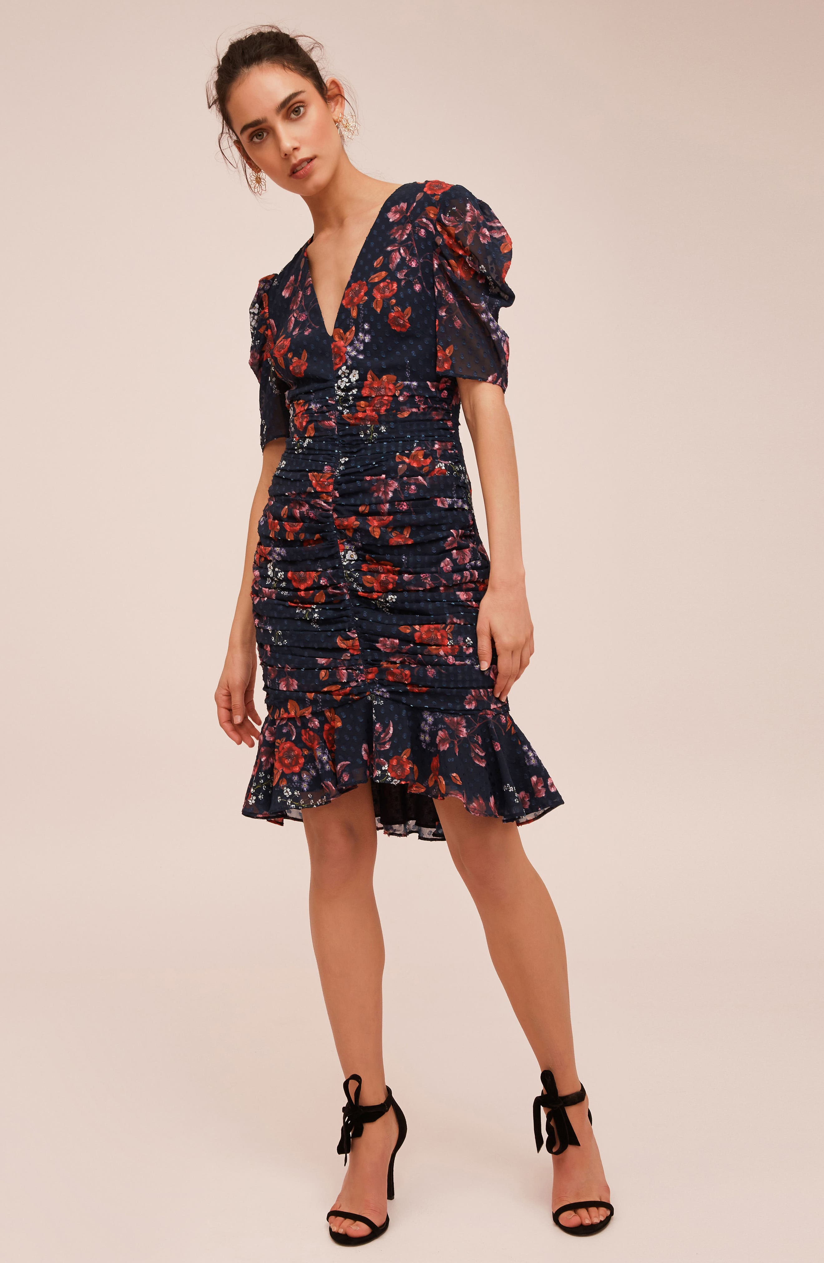 KEEPSAKE THE LABEL,                             Need You Now Floral Ruched Dress,                             Alternate thumbnail 8, color,                             411