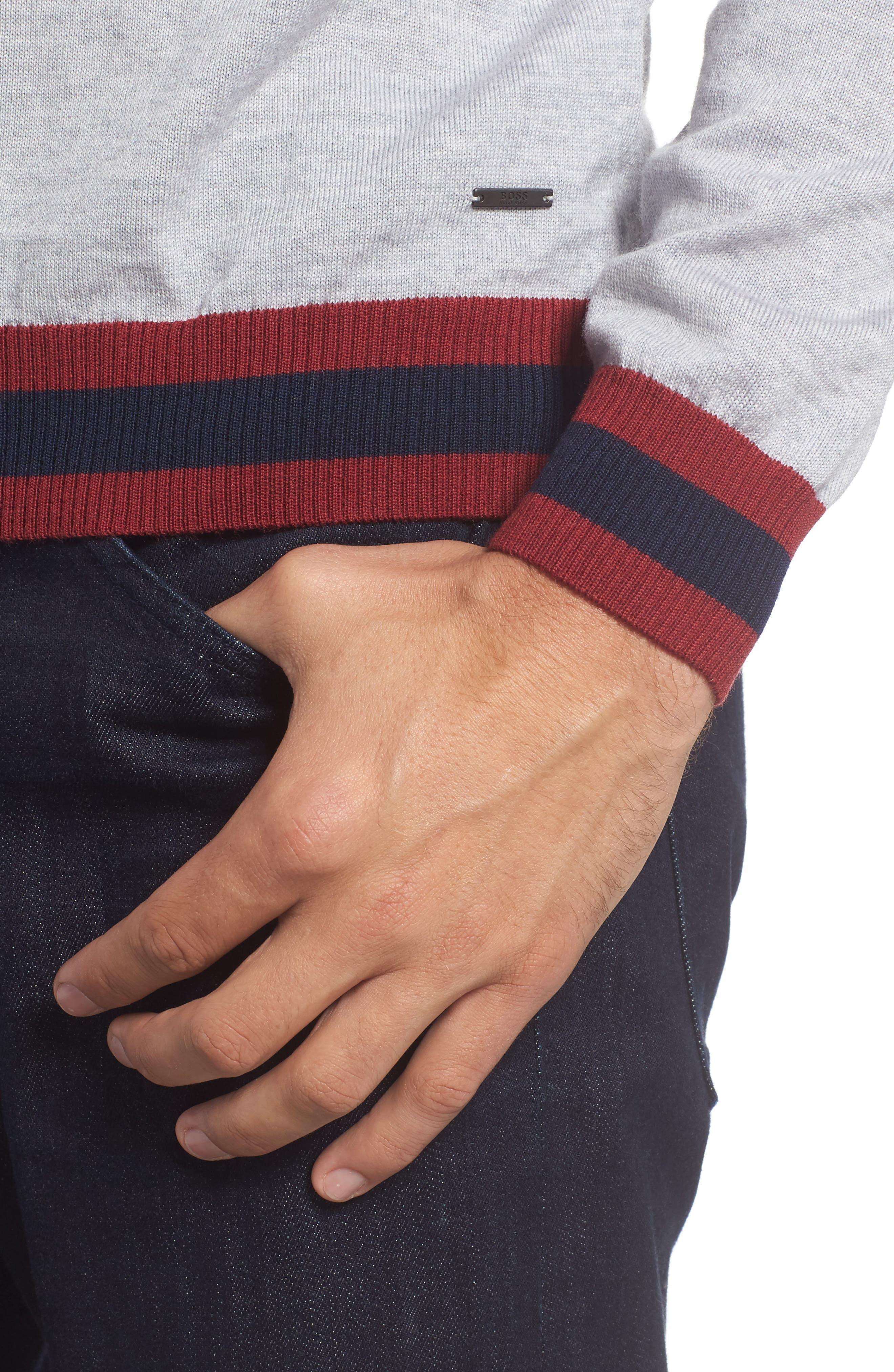 Navello Slim Fit Wool V-Neck Sweater,                             Alternate thumbnail 4, color,                             072