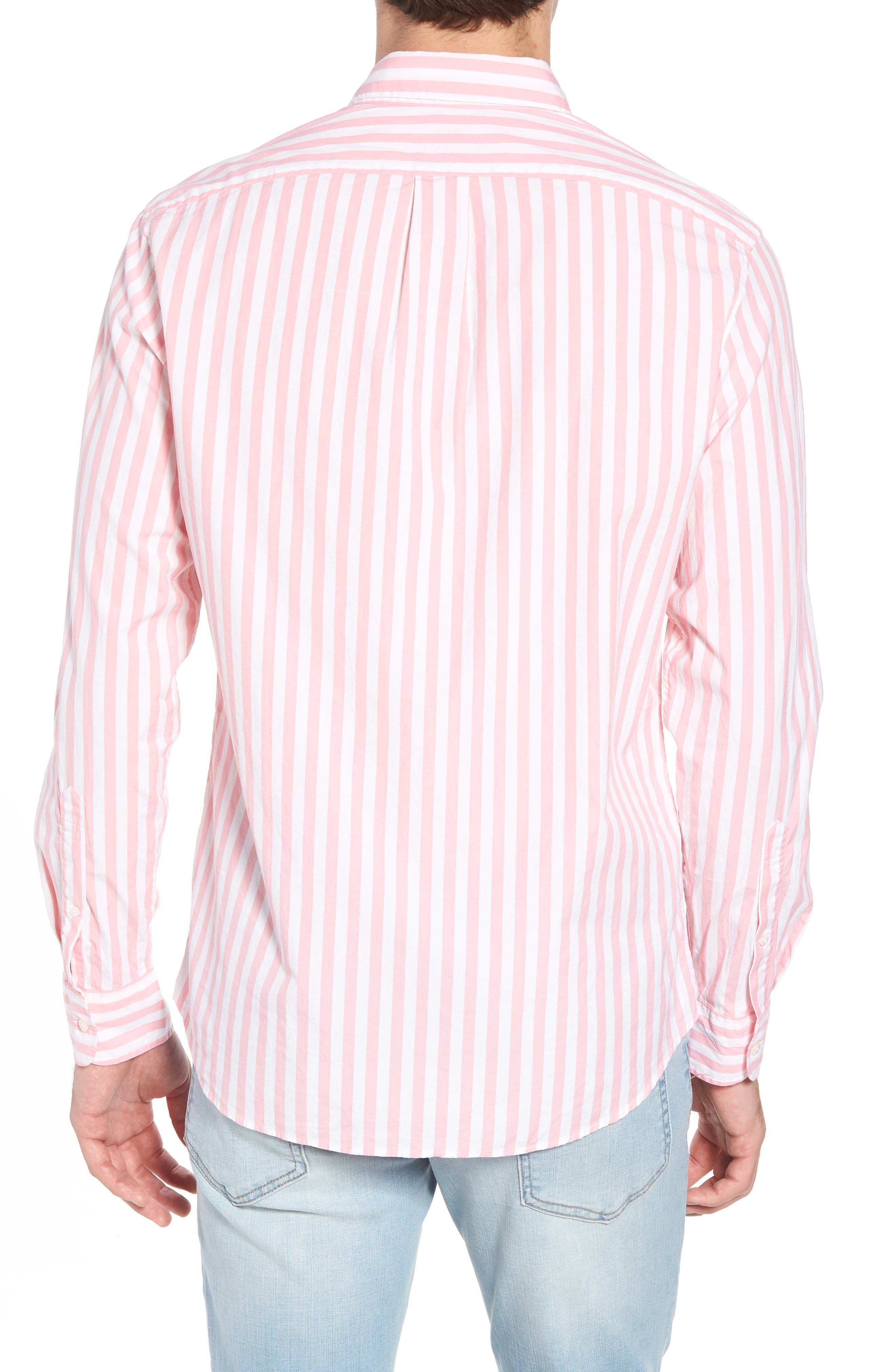 Slim Fit Stretch Secret Wash Stripe Sport Shirt,                             Alternate thumbnail 2, color,