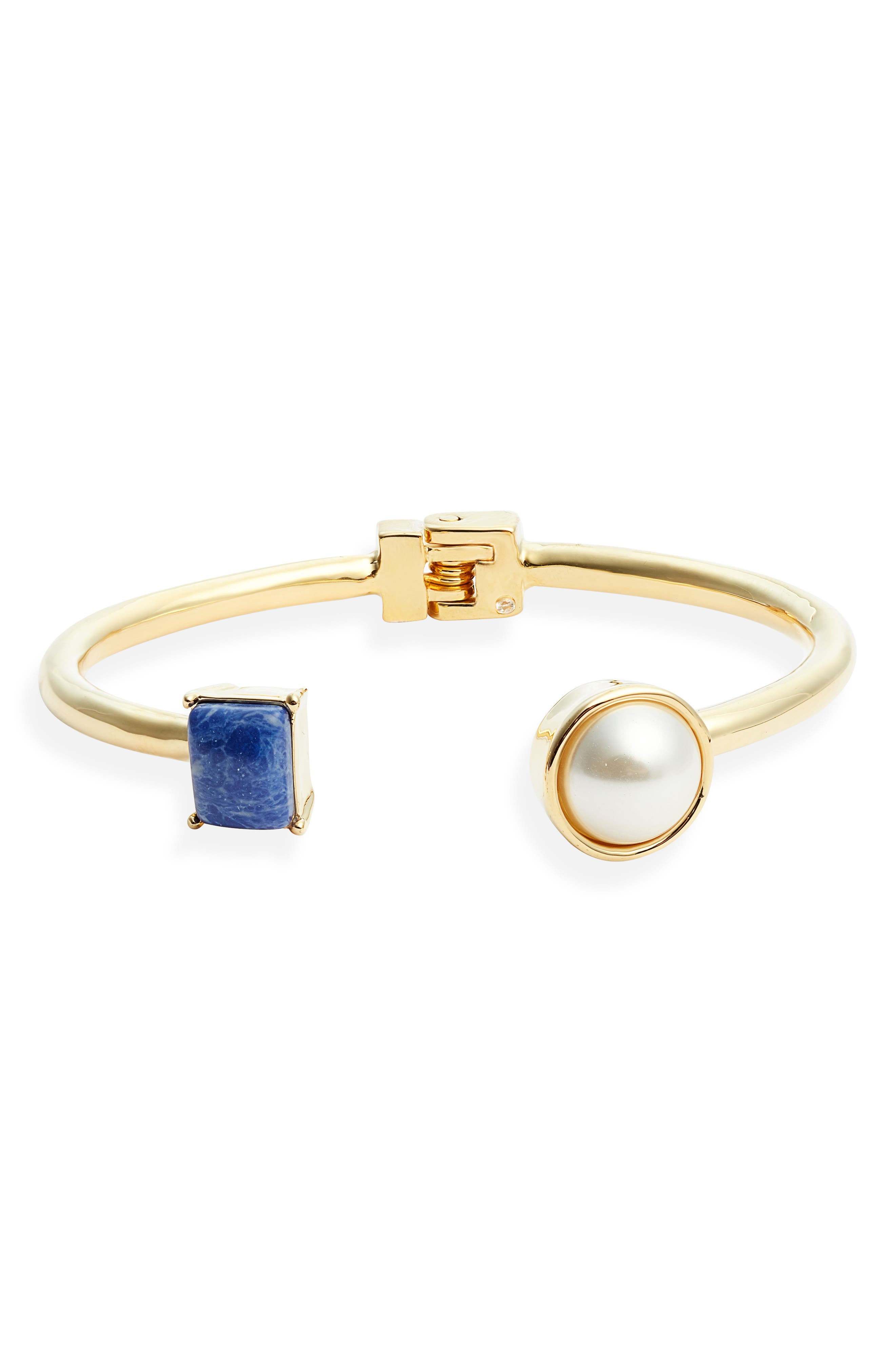 Cuff Bracelet, Main, color, GOLD/ BLUE/ PEARL