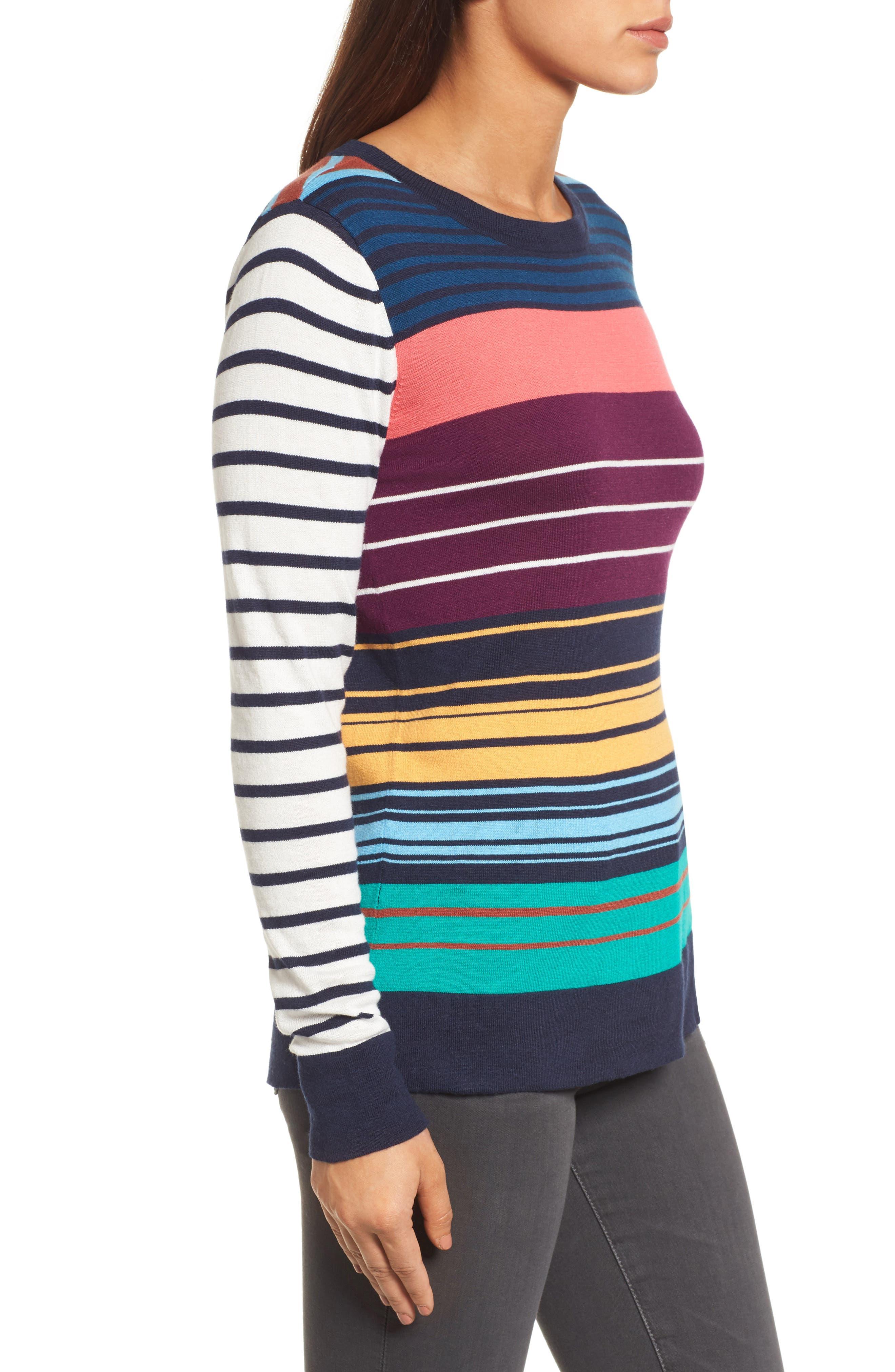 Colorblock Stripe Sweater,                             Alternate thumbnail 3, color,                             410