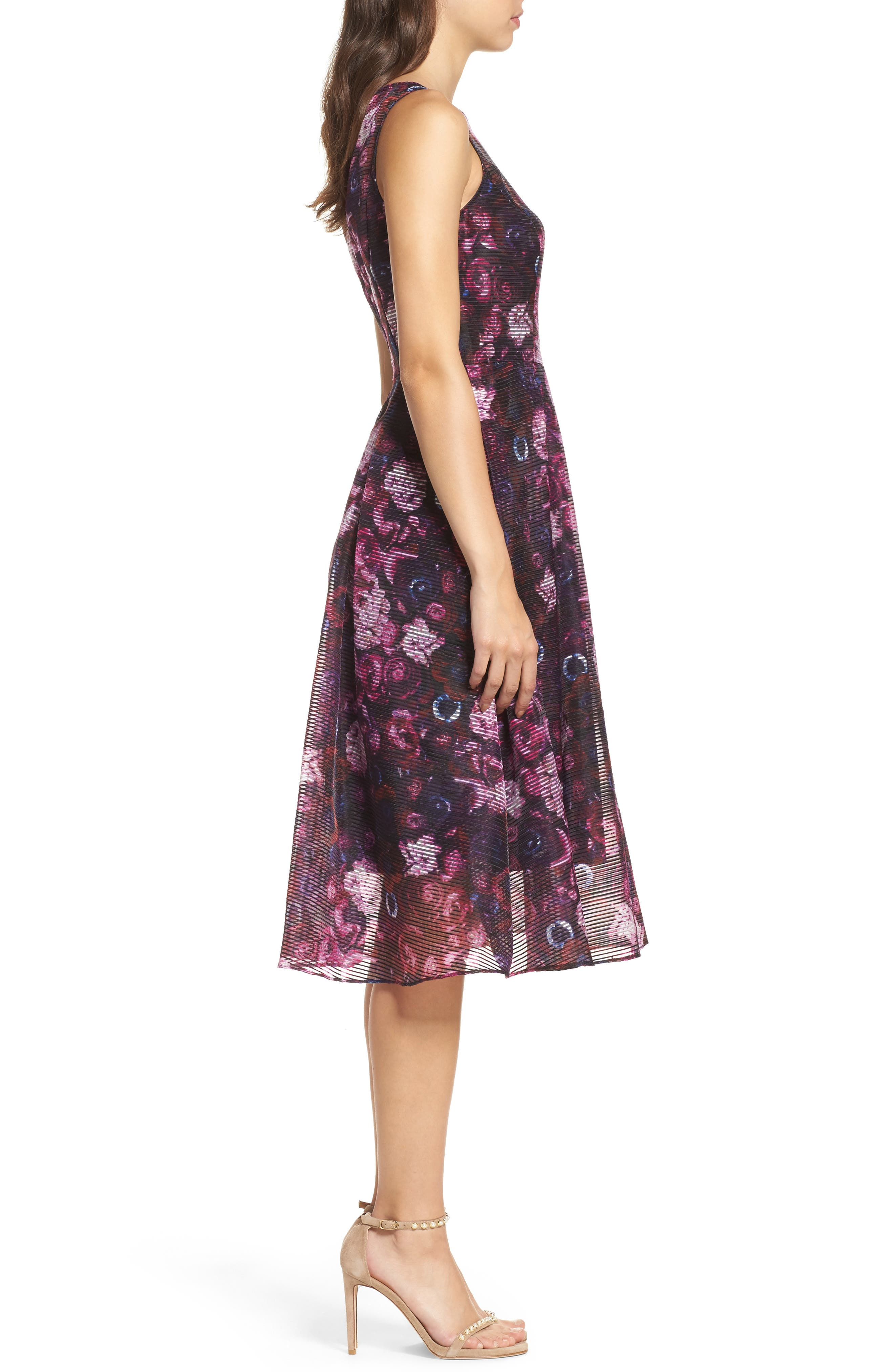Fit & Flare Dress,                             Alternate thumbnail 3, color,                             010