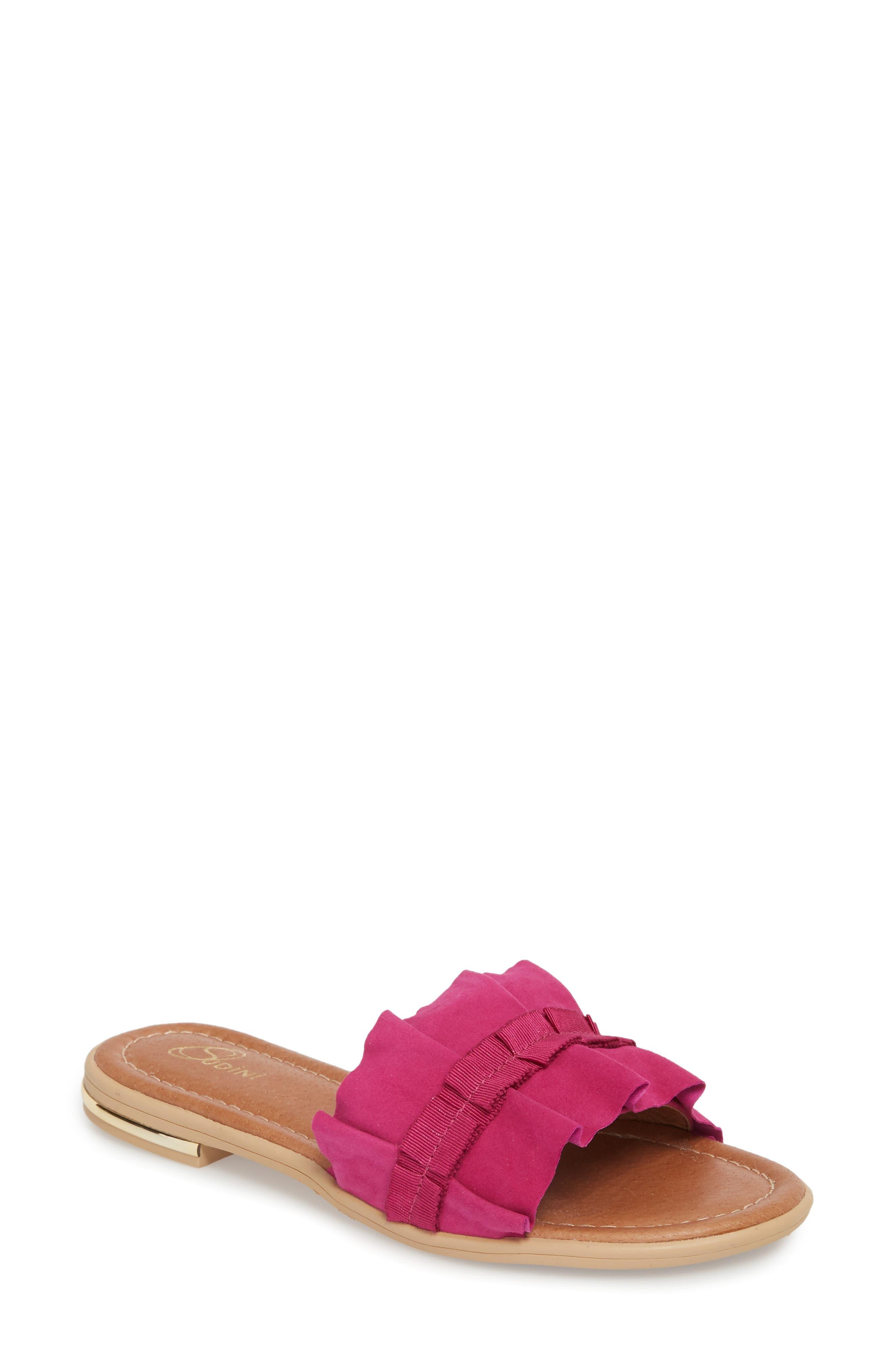 Ravenna Slide Sandal,                             Main thumbnail 1, color,                             FUCHSIA SUEDE