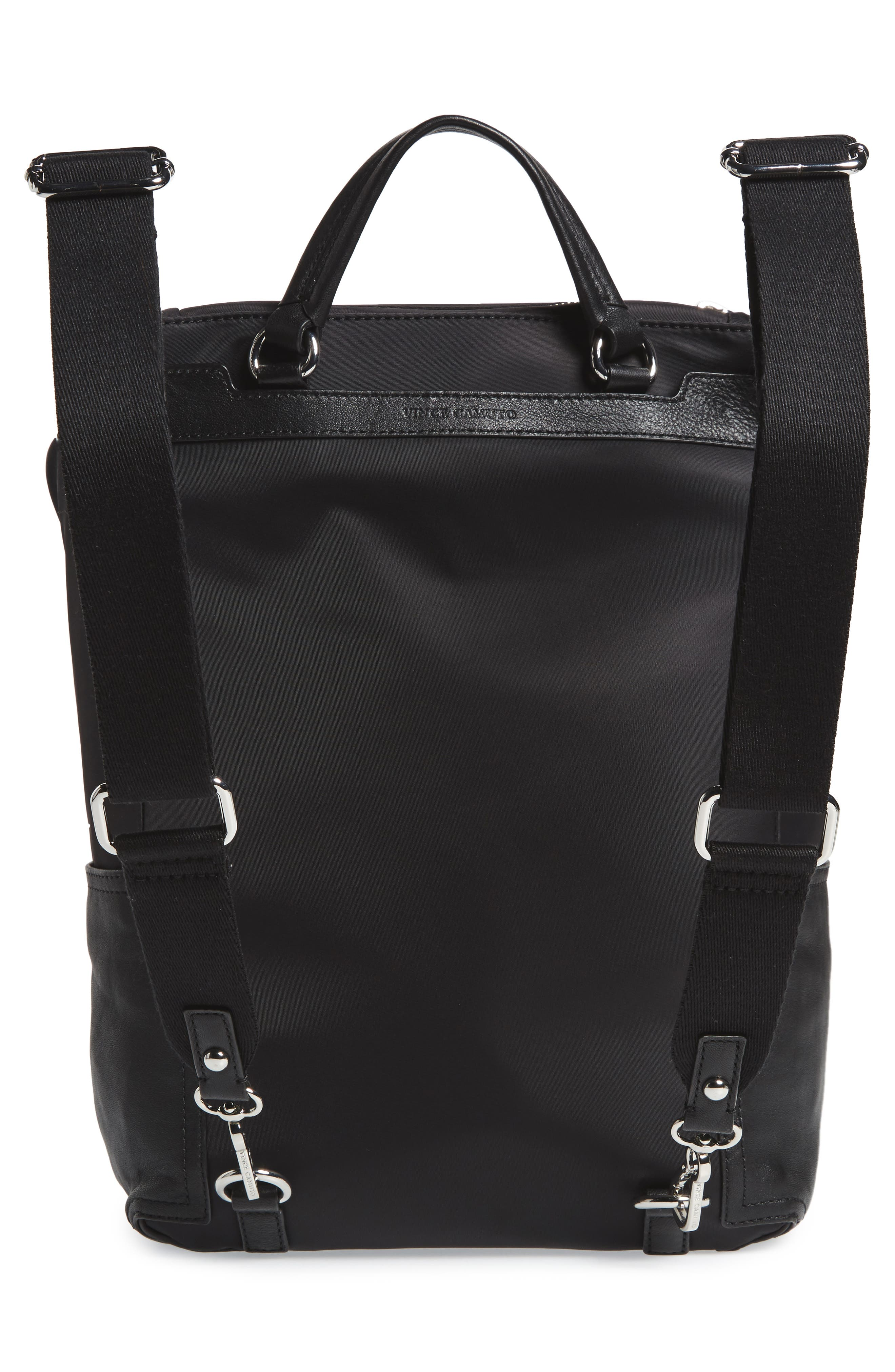 Patch NYL Leather & Nylon Backpack,                             Alternate thumbnail 4, color,                             002
