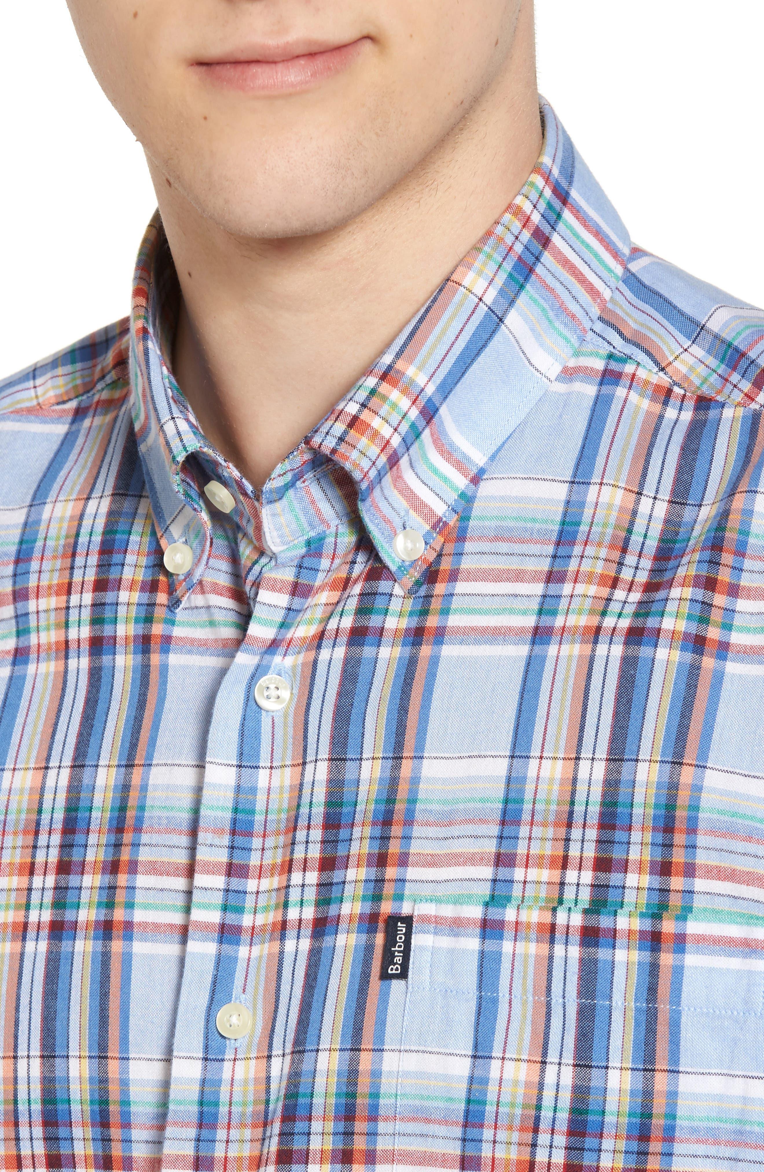 Bram Trim Fit Plaid Sport Shirt,                             Alternate thumbnail 4, color,                             450