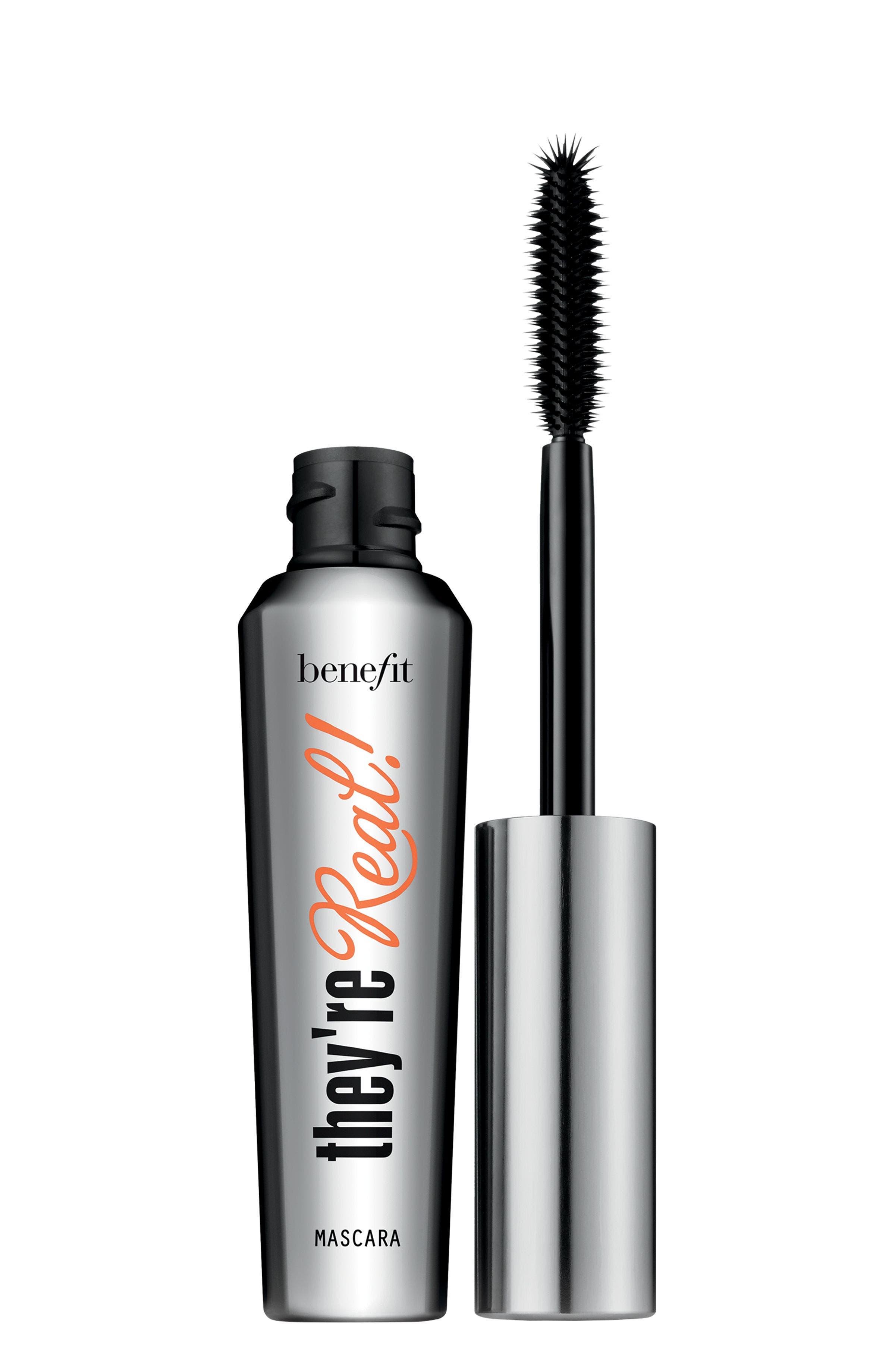 BENEFIT COSMETICS,                             Benefit They're Real! Lengthening & Volumizing Mascara,                             Main thumbnail 1, color,                             JET BLACK
