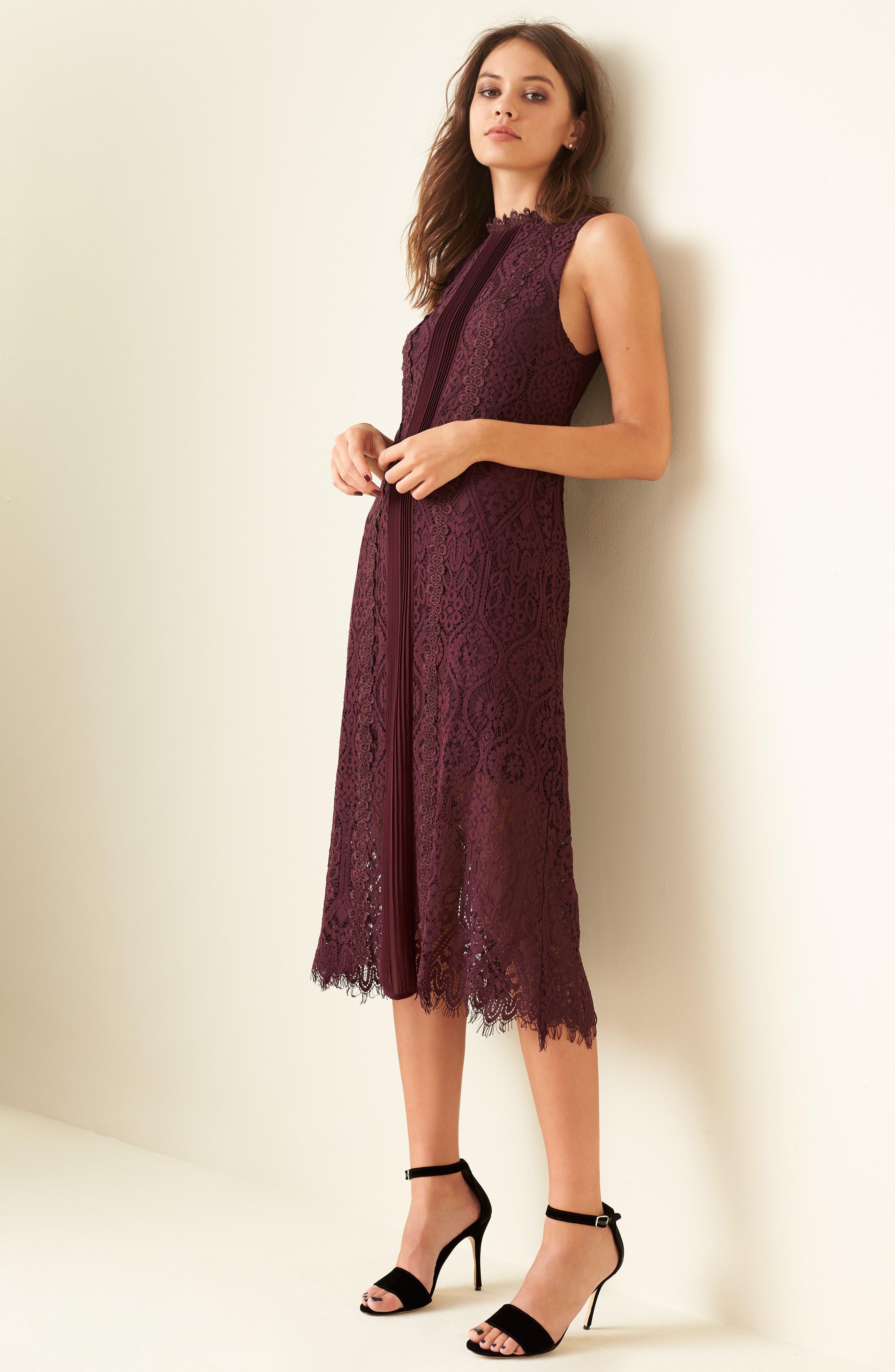 Lace Pleated Midi Dress,                             Alternate thumbnail 7, color,                             930