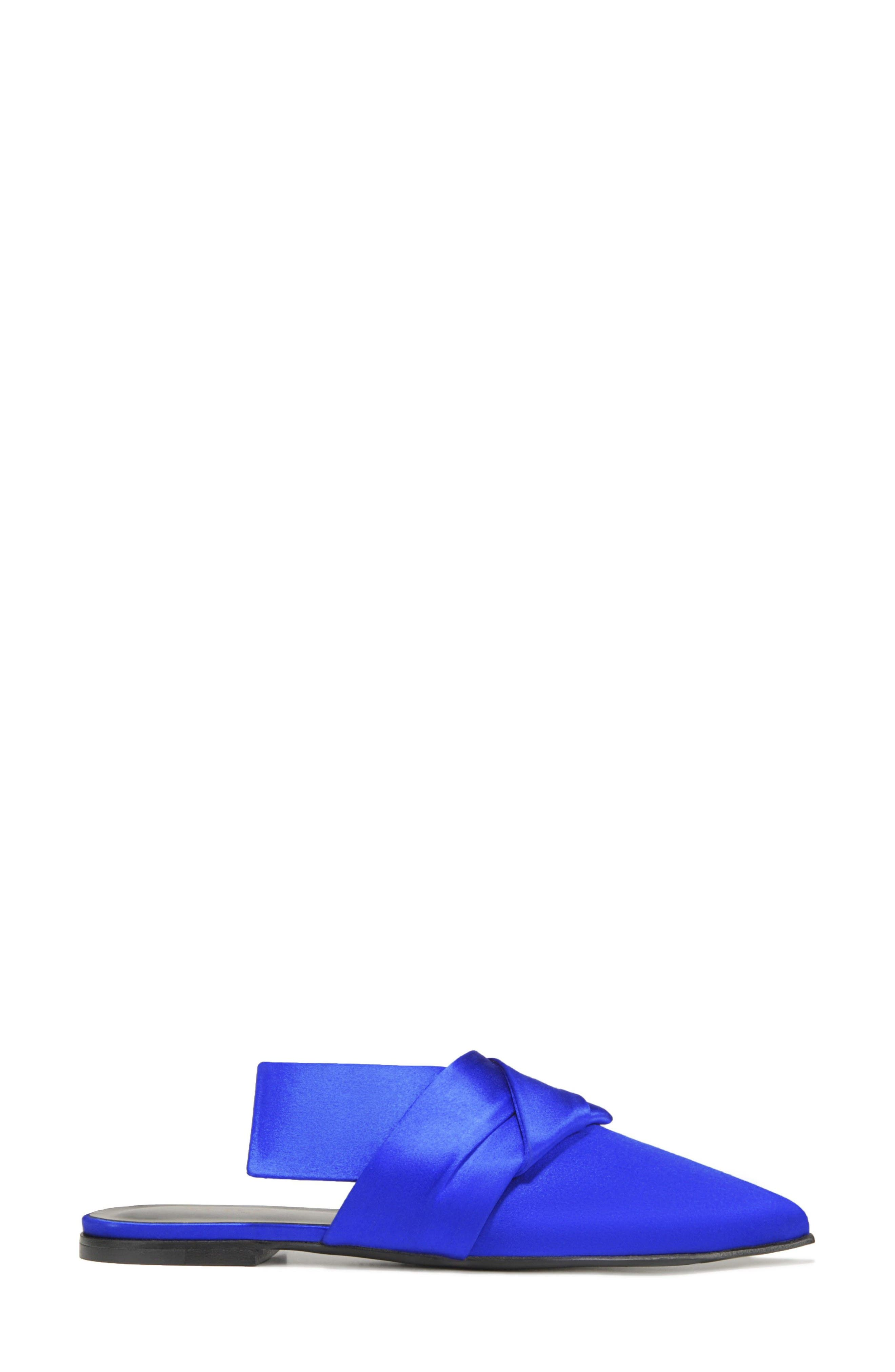 Birgit Pointy Toe Mule,                             Alternate thumbnail 3, color,                             LAPIS FABRIC