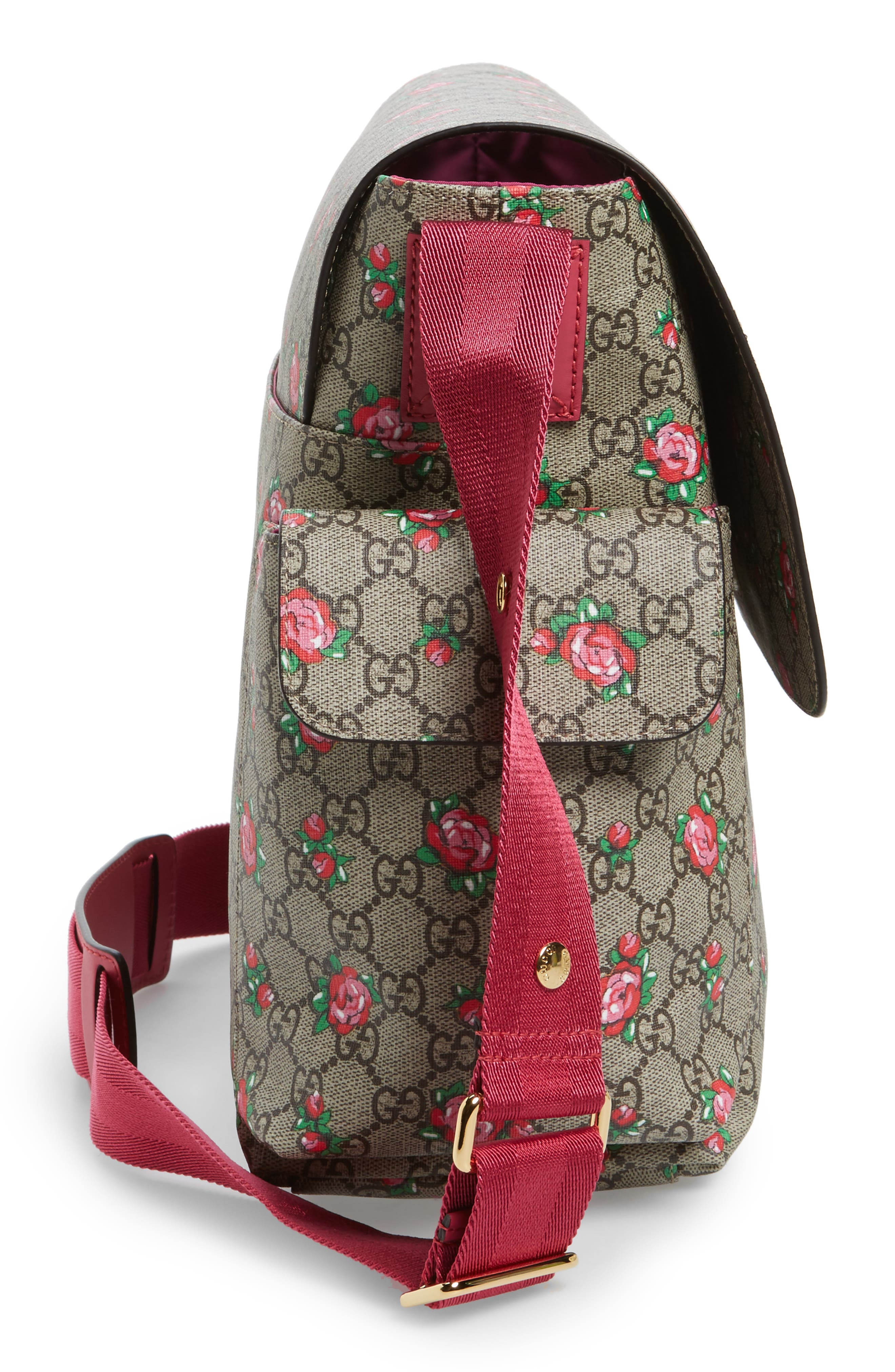 Rose GG Supreme Coated Canvas Diaper Bag,                             Alternate thumbnail 5, color,                             200