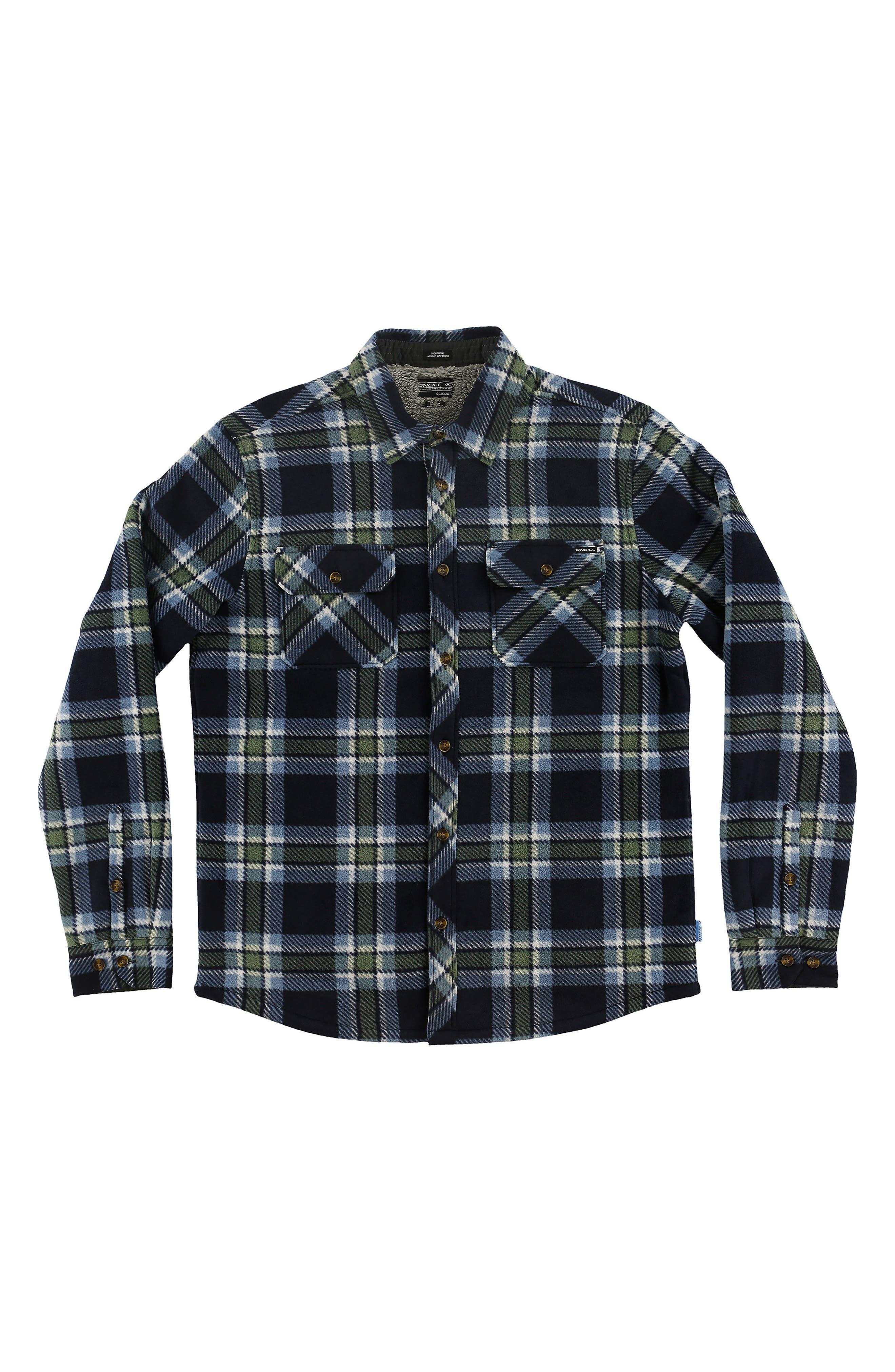 O'NEILL Glacier Heat Dome Terry Plaid Shirt, Main, color, 410