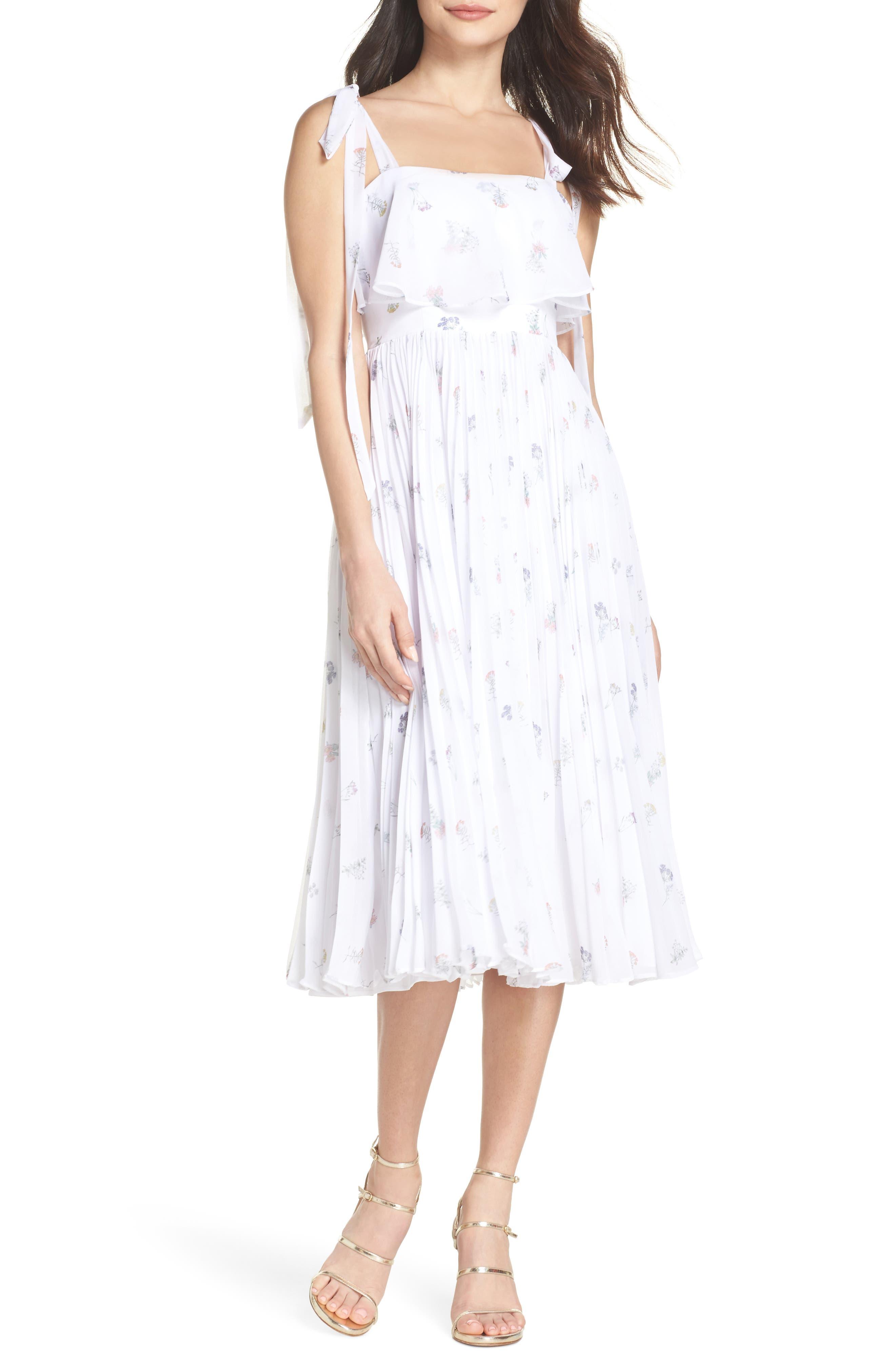 Penny Midi Dress,                             Main thumbnail 1, color,                             SPRING POSY WHITE