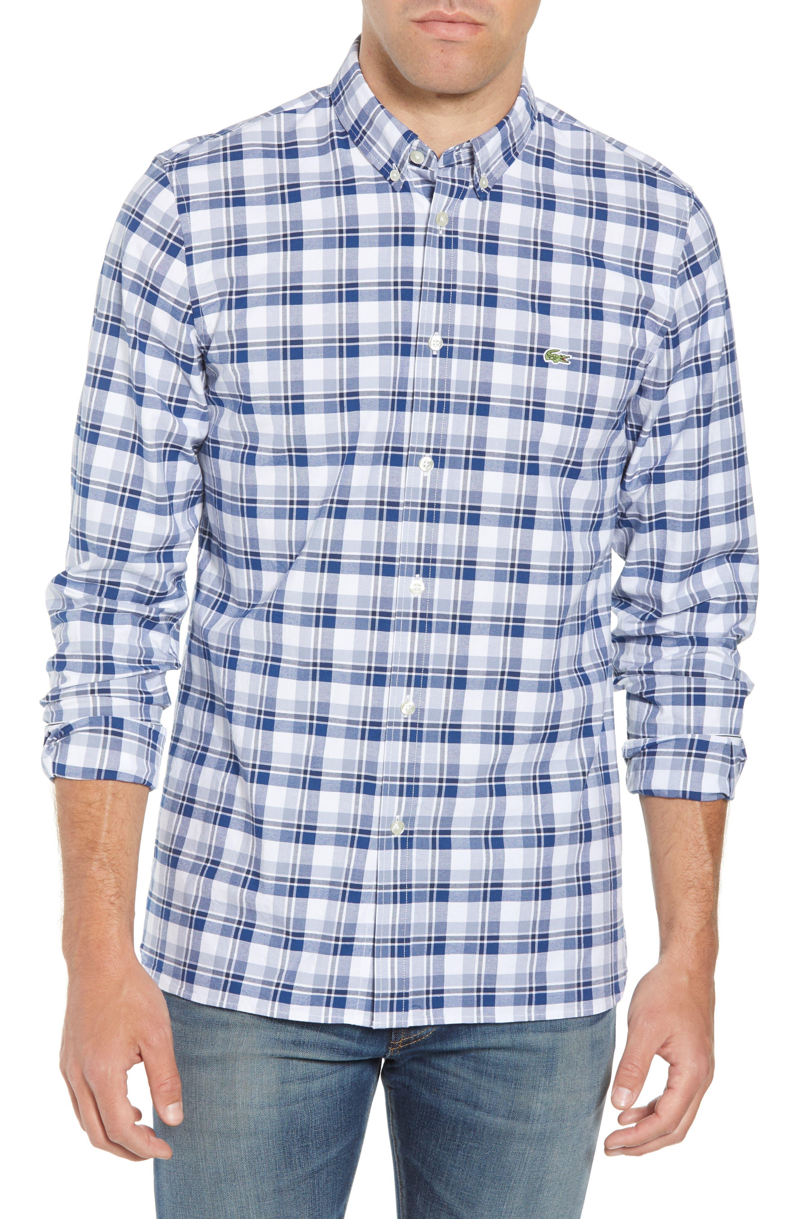 Slim Fit Check Oxford Sport Shirt,                             Main thumbnail 1, color,                             MARINO