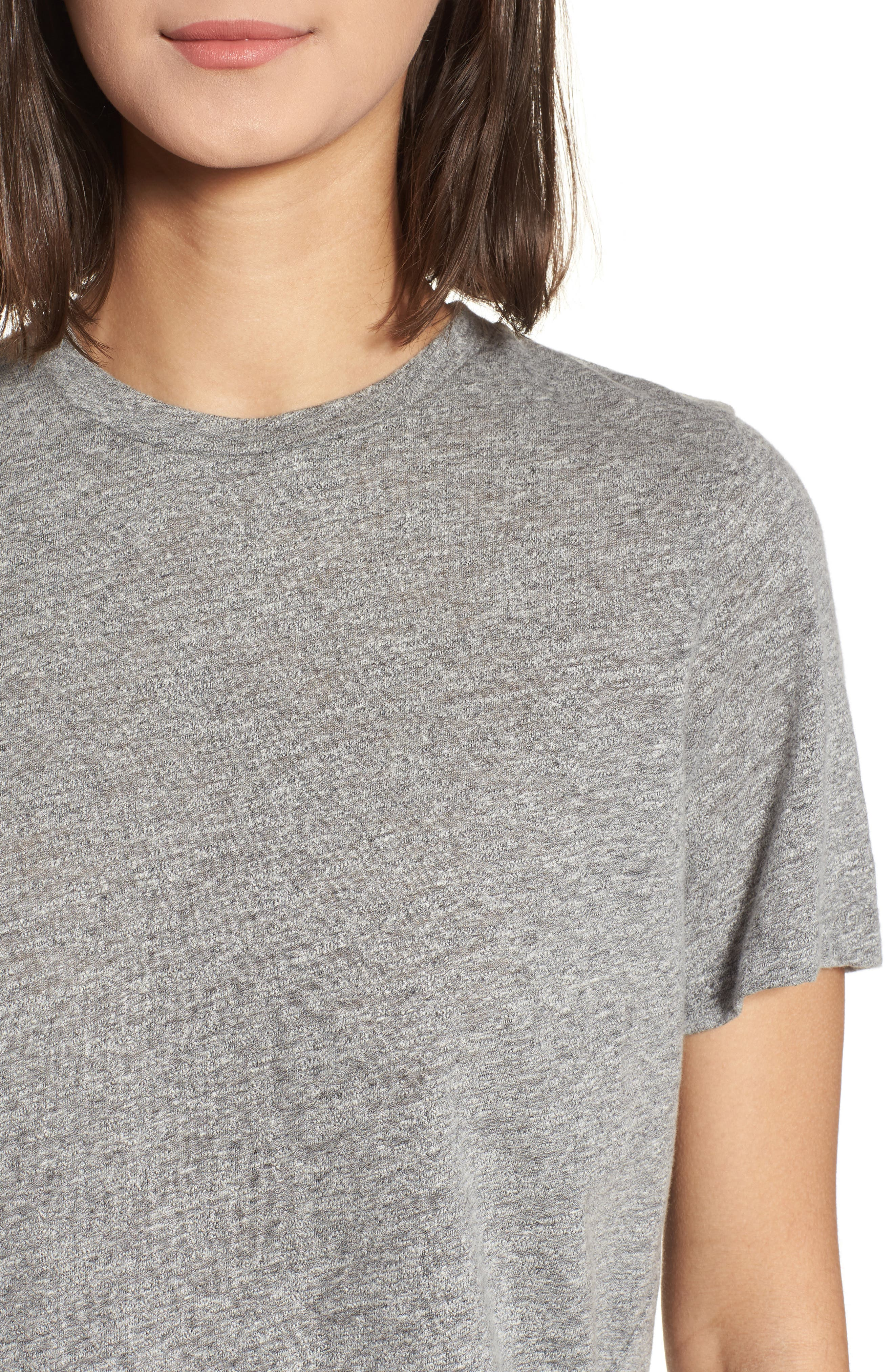 Gray Boyfriend Tee,                             Alternate thumbnail 4, color,                             SPECKLED HEATHER GREY