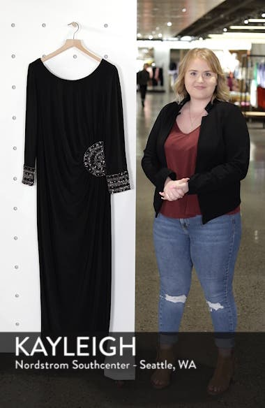 Embellished Stretch Jersey Long Dress, sales video thumbnail